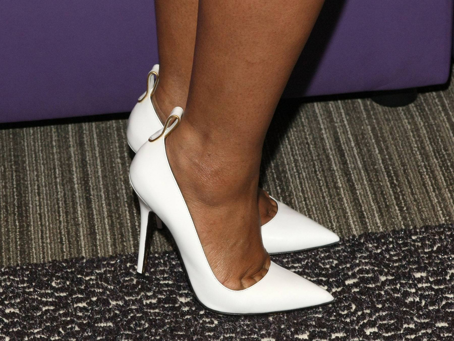 Ahead of the Curve - Tamar rocks some white heels while on 106. (Photo: Bennett Raglin/BET/Getty Images for BET)