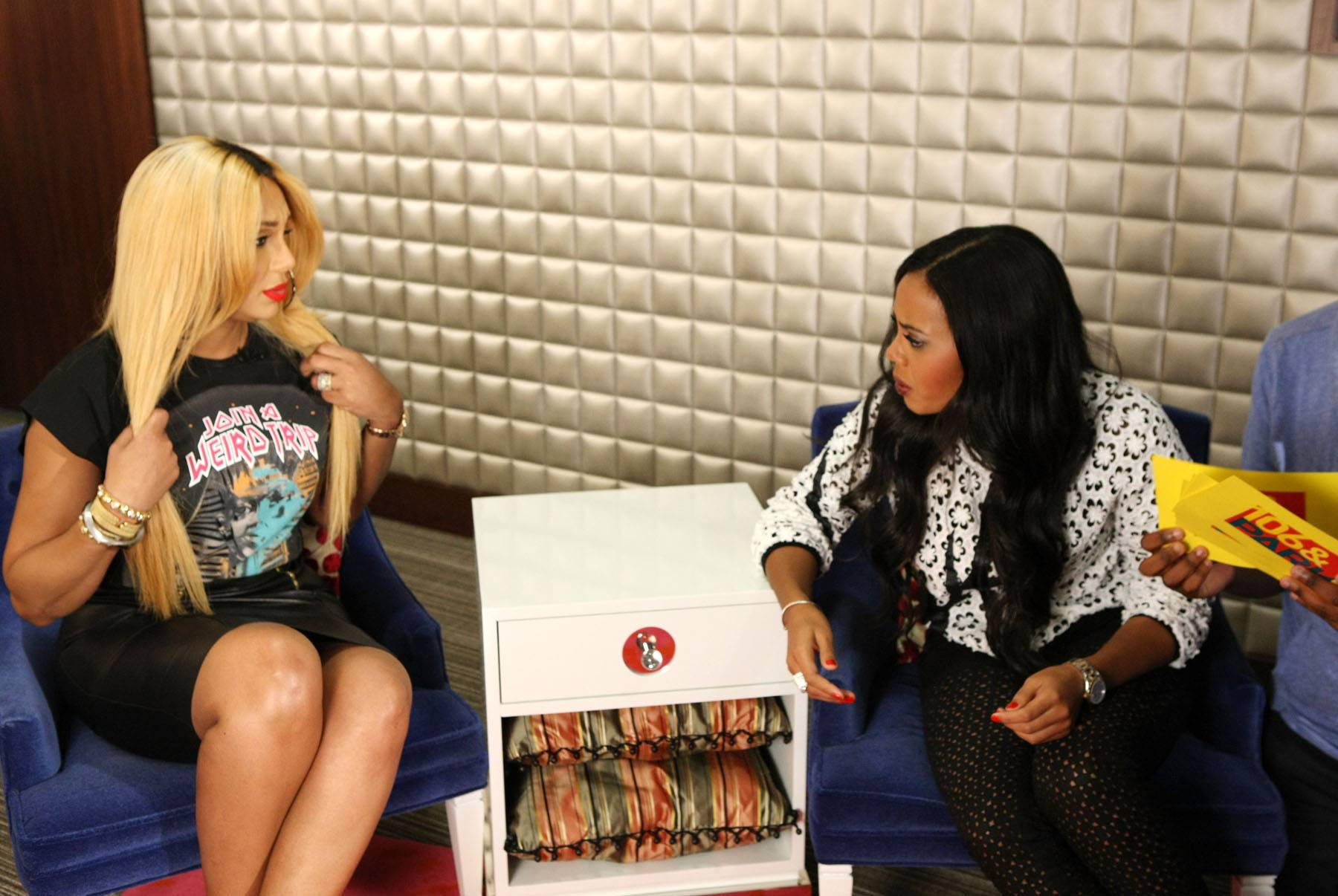 Say What? - Host Angela Simmons dives into Tamar's answers backstage on 106. (Photo: Bennett Raglin/BET/Getty Images for BET)