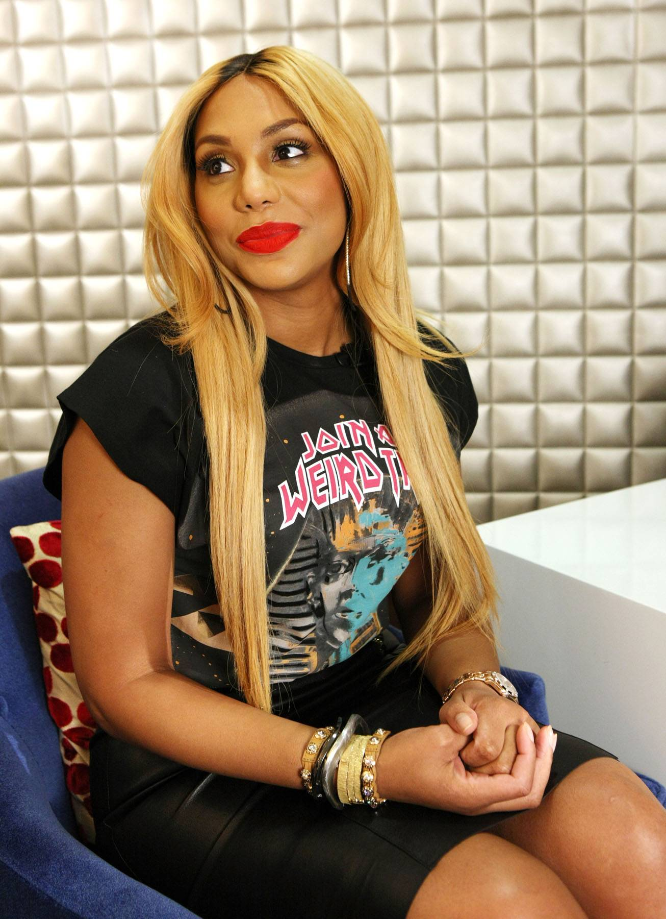 Dreaming - Tamar in a daze during her interview backstage on 106. (Photo: Bennett Raglin/BET/Getty Images for BET)