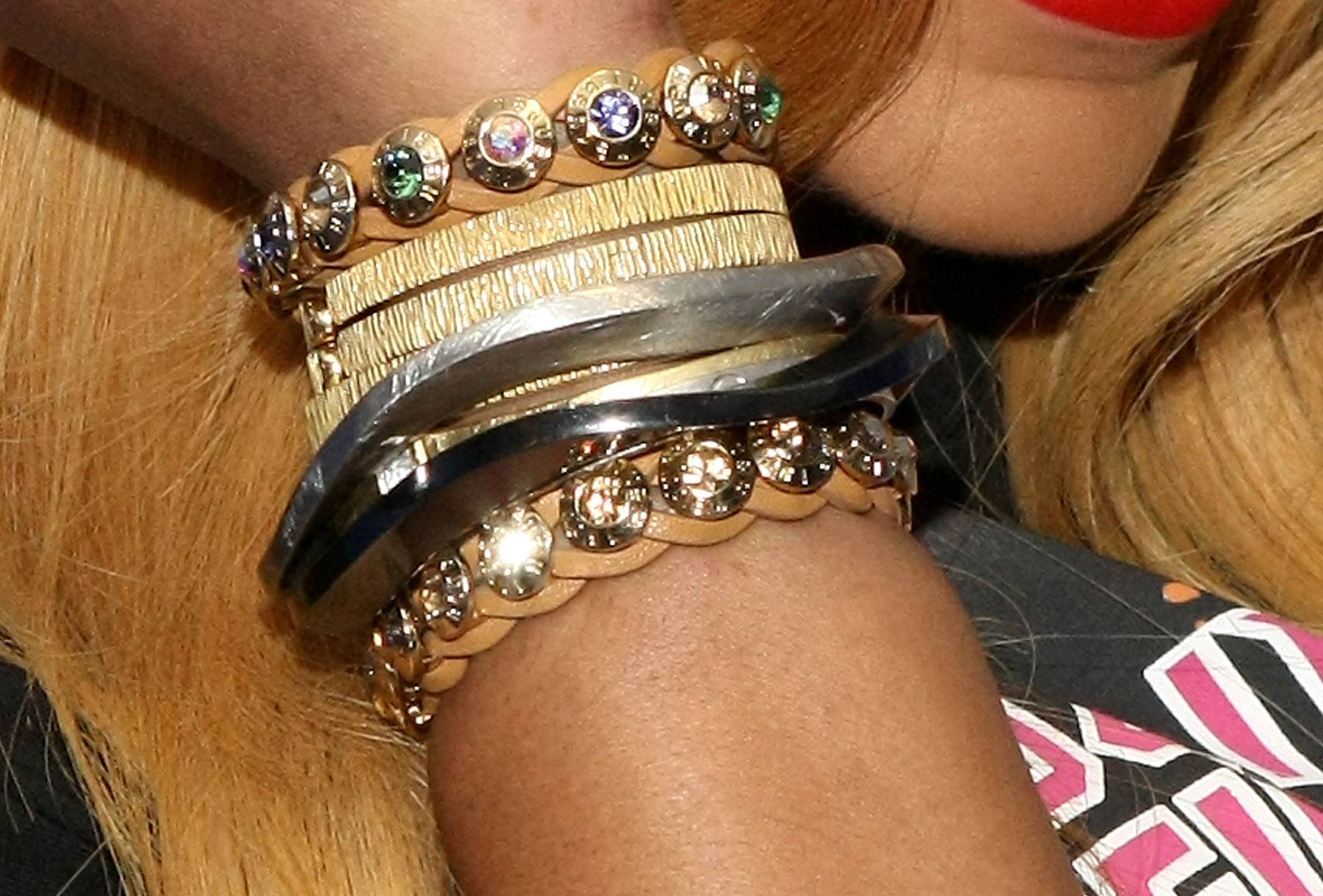 Brace Yourself - Tamar shows off her bracelets while backstage. (Photo: Bennett Raglin/BET/Getty Images for BET)