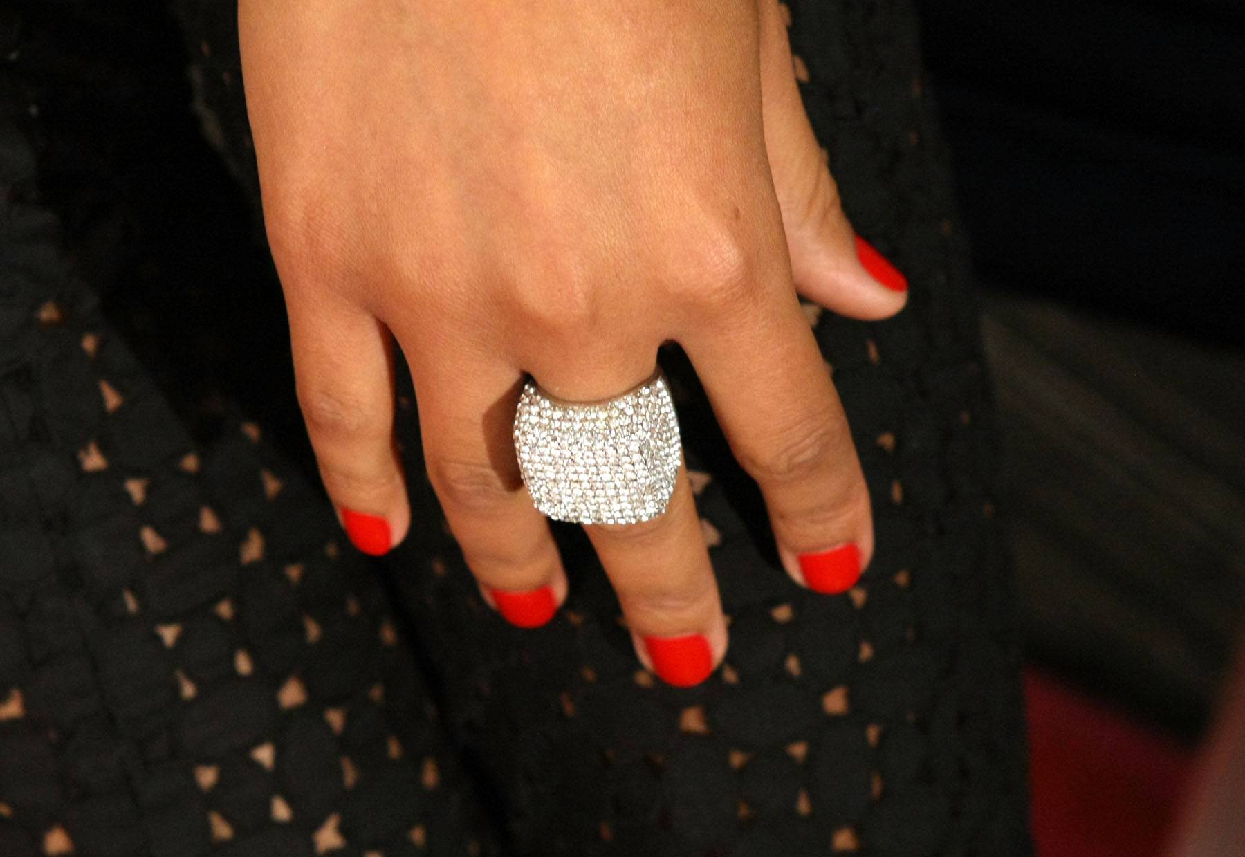 Blinders - You'll need to put on the blinders while looking at Angela Simmons' ring. (Photo: Bennett Raglin/BET/Getty Images for BET)