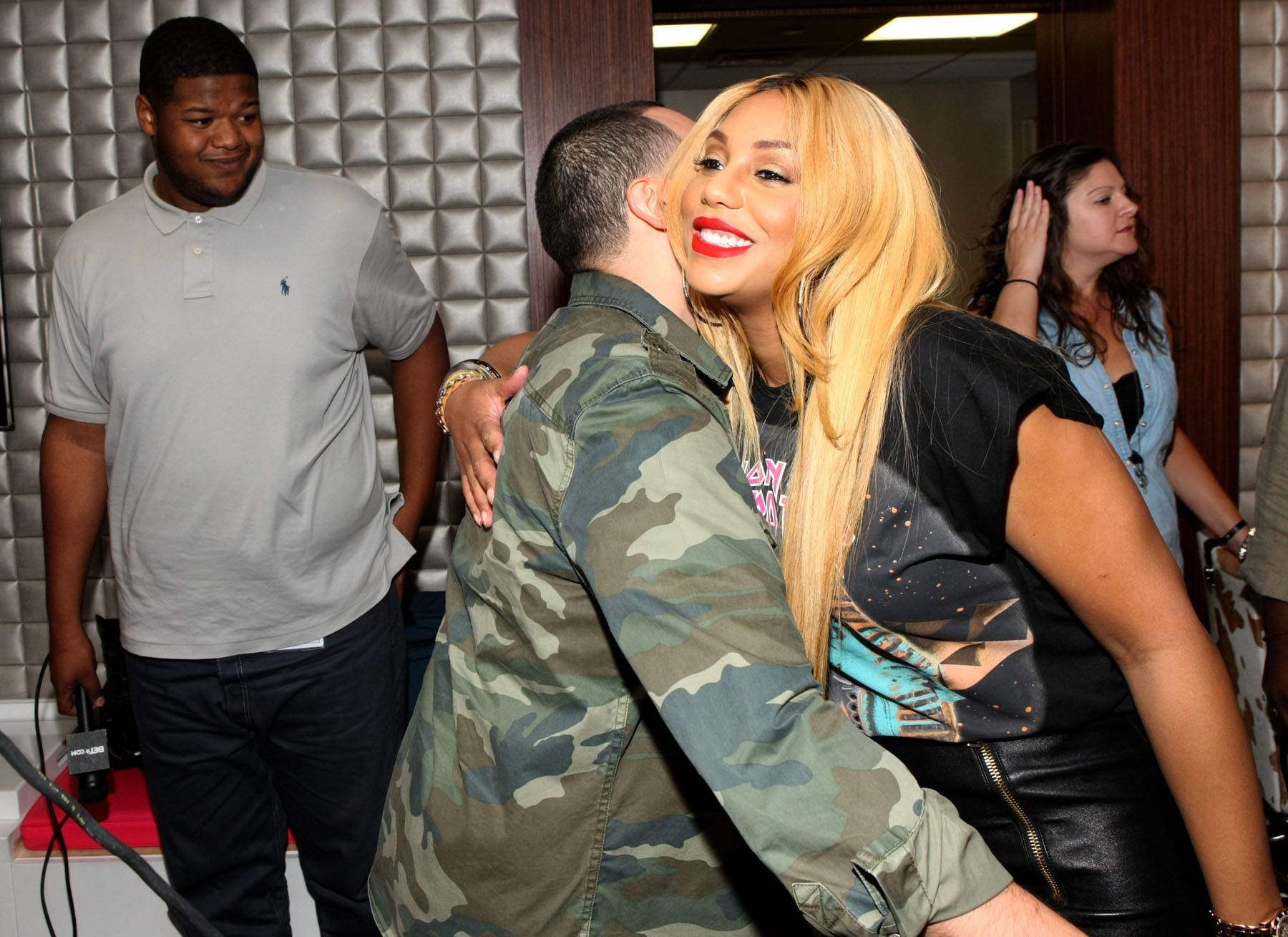 Smooches - Thanks to Tamar for visiting the 106 audience. (Photo: Bennett Raglin/BET/Getty Images for BET)