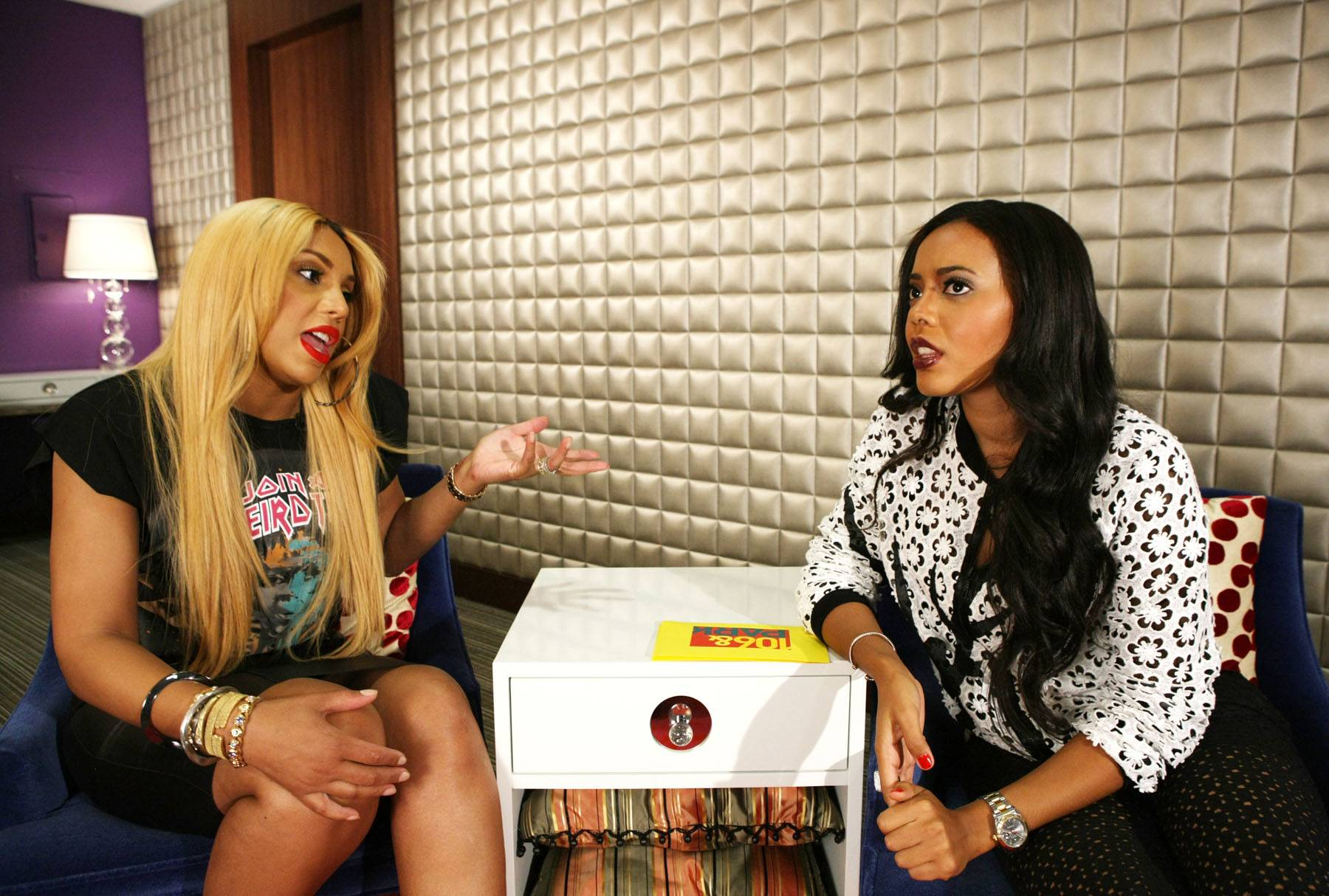 Brain Freeze - Tamar and Angela Simmons are having so much fun that they forgot what they were talking about. (Photo: Bennett Raglin/BET/Getty Images for BET)