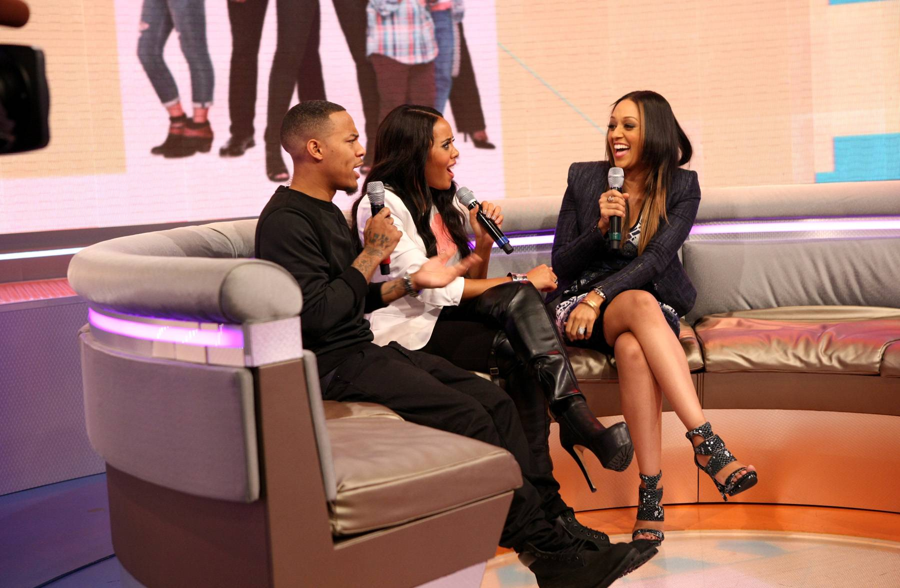 Oh Em Gee - Bow Wow, Angela Simmons and Tia Mowry-Hardrict laugh up a storm while on 106. (Photo: Bennett Raglin/BET/Getty Images for BET)