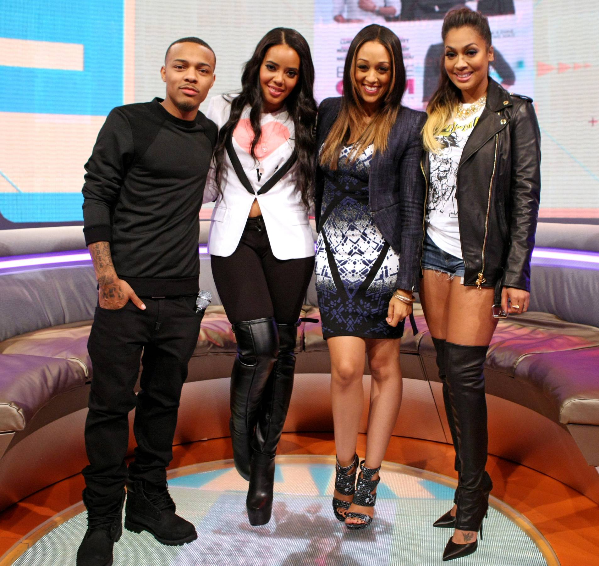 Instant Friends - Bow Wow, Angela Simmons, Tia Mowry and LaLa Anthony pose for the camera. (Photo: Bennett Raglin/BET/Getty Images for BET)