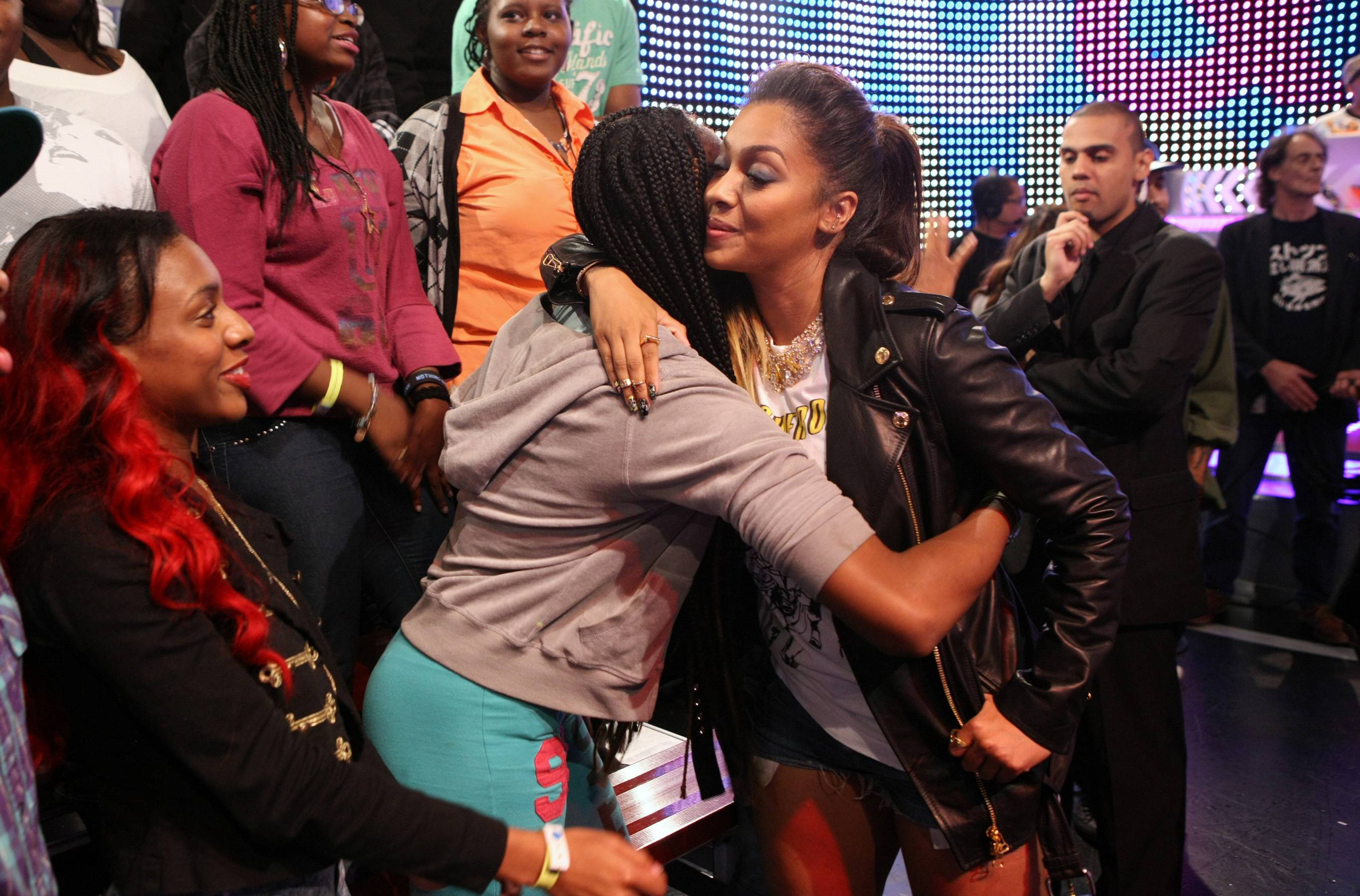 Smooches - LaLa Anthony greets fans while on 106. (Photo: Bennett Raglin/BET/Getty Images for BET)