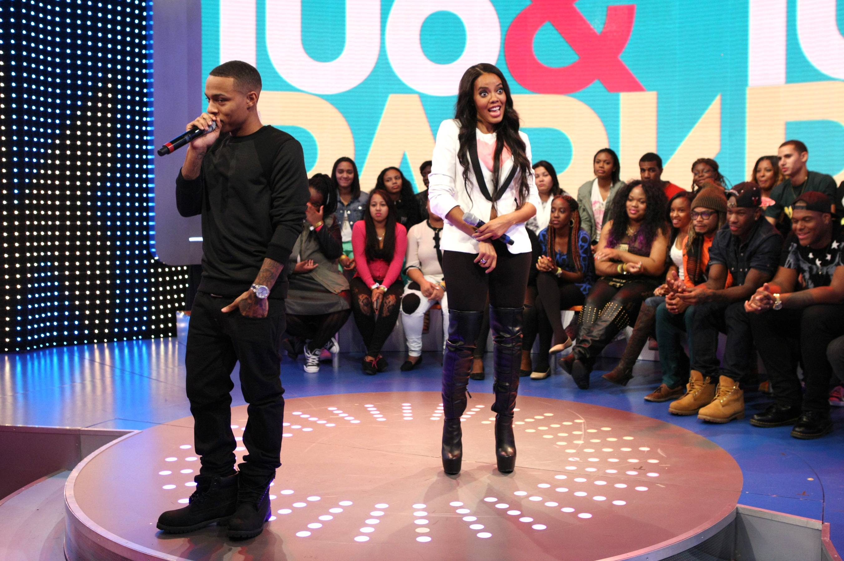 Crazy People - Hosts Bow Wow and Angela Simmons acting a fool with the livest audience members. (Photo: Bennett Raglin/BET/Getty Images for BET)