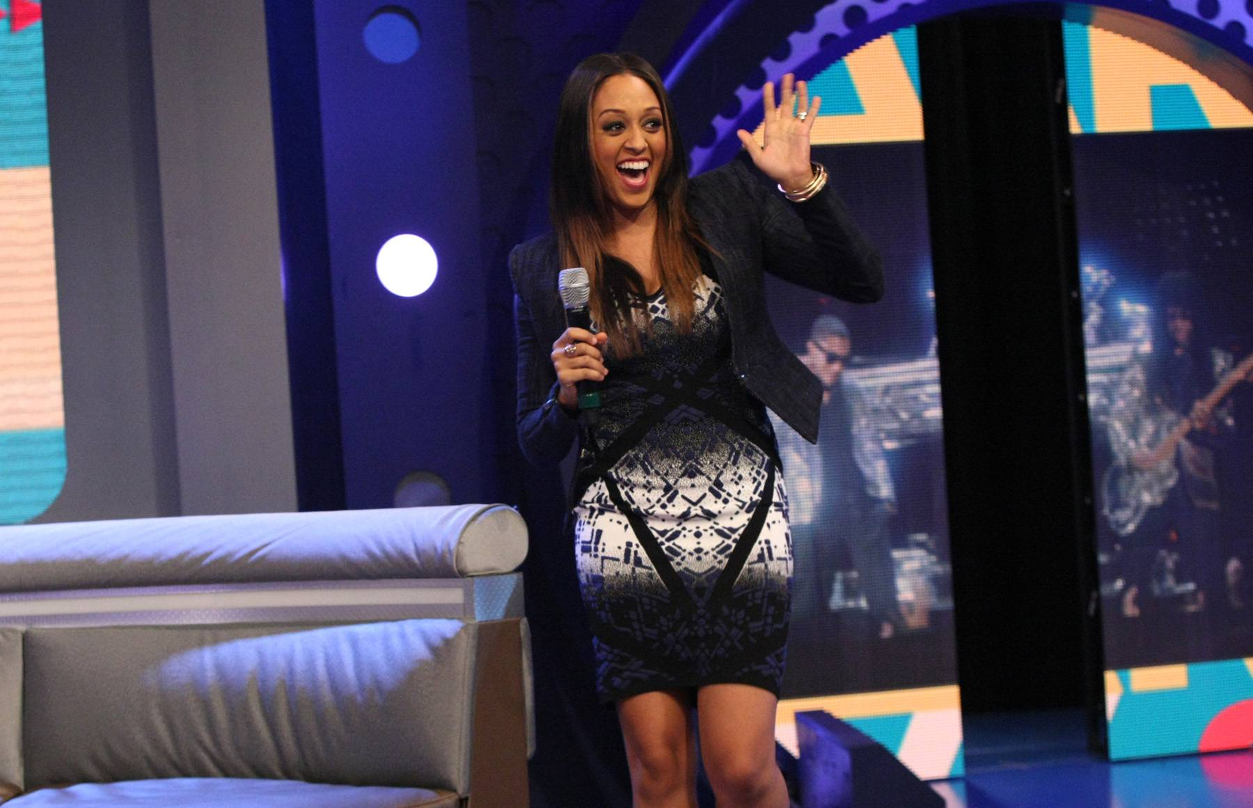 She's Arrived - Actress Tia Mowry-Hardrict finally hits the 106 & Park stage. The excitement was high.(Photo: Bennett Raglin/BET/Getty Images for BET)