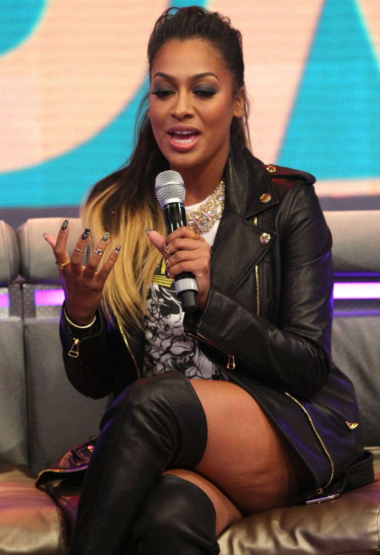 LaLa - TV personality LaLa Anthony talking to hosts Bow Wow and Angela Simmons on 106. (Photo: Bennett Raglin/BET/Getty Images for BET)