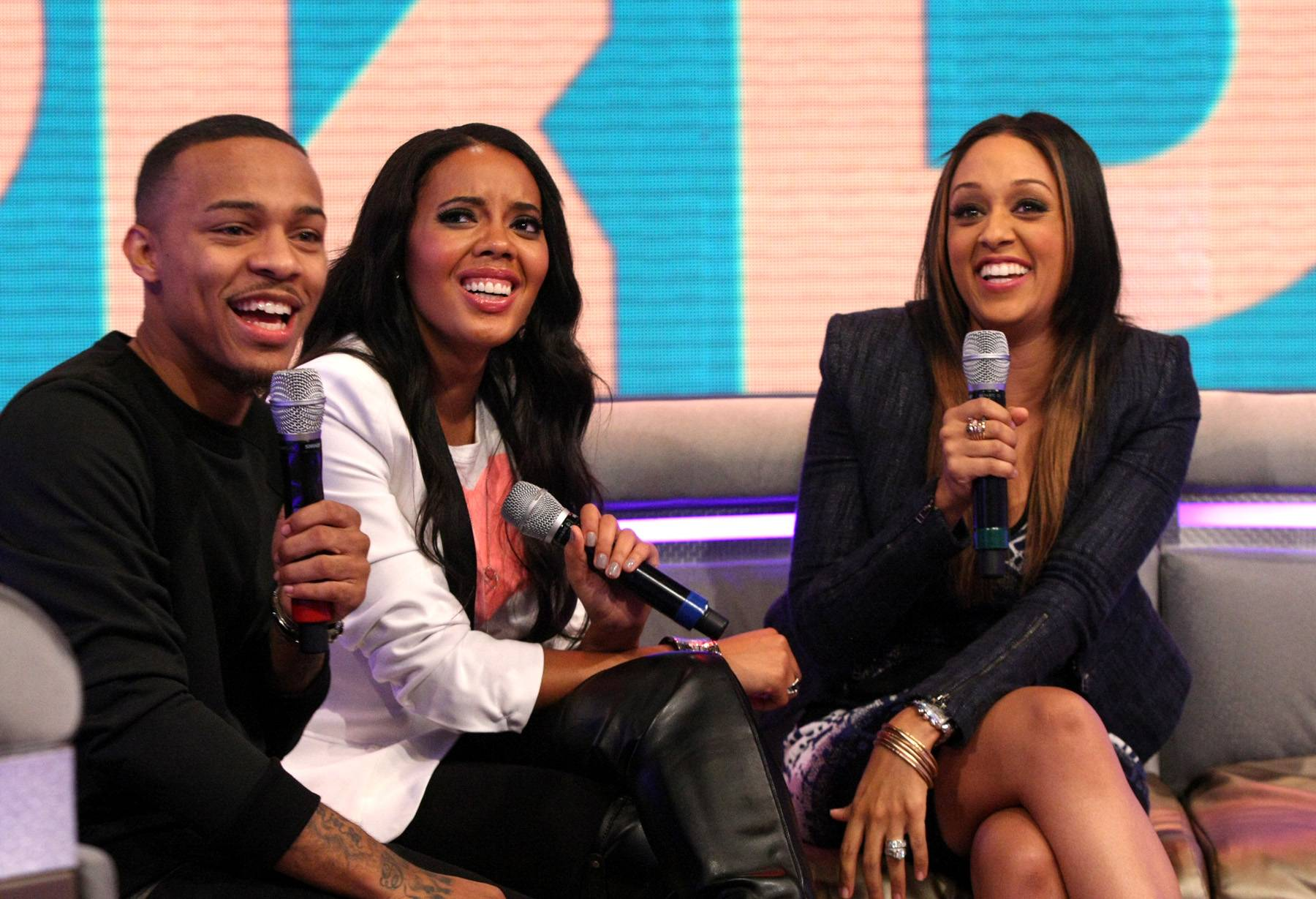 Screen Time - Bow Wow and Angela Simmons with Tia Mowry-Hardrict on set at 106.(Photo: Bennett Raglin/BET/Getty Images for BET)