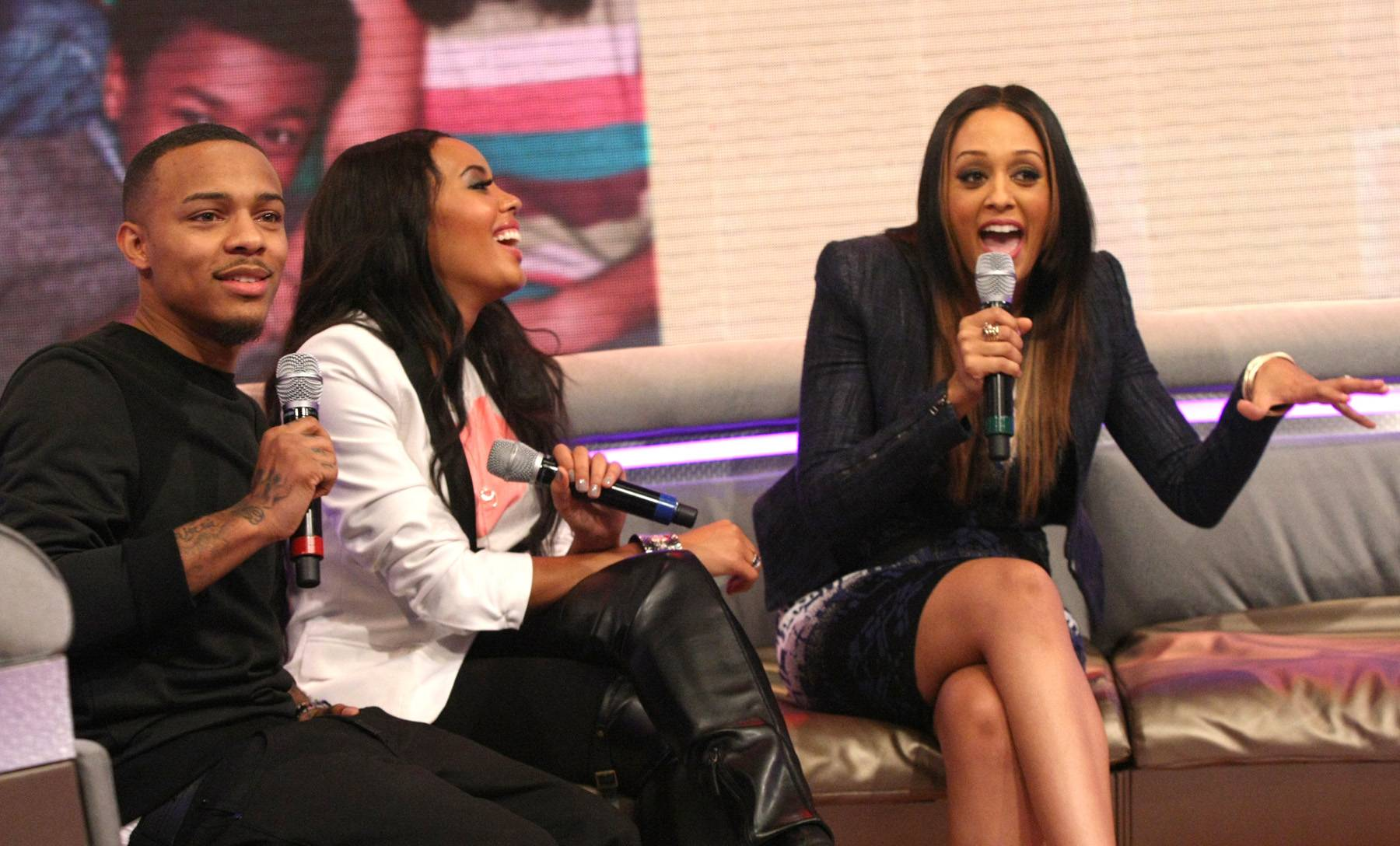 Hey! - Bow Wow and Angela Simmons joking around with Tia Mowry-Hardrict on the 106 couch. (Photo: Bennett Raglin/BET/Getty Images for BET)