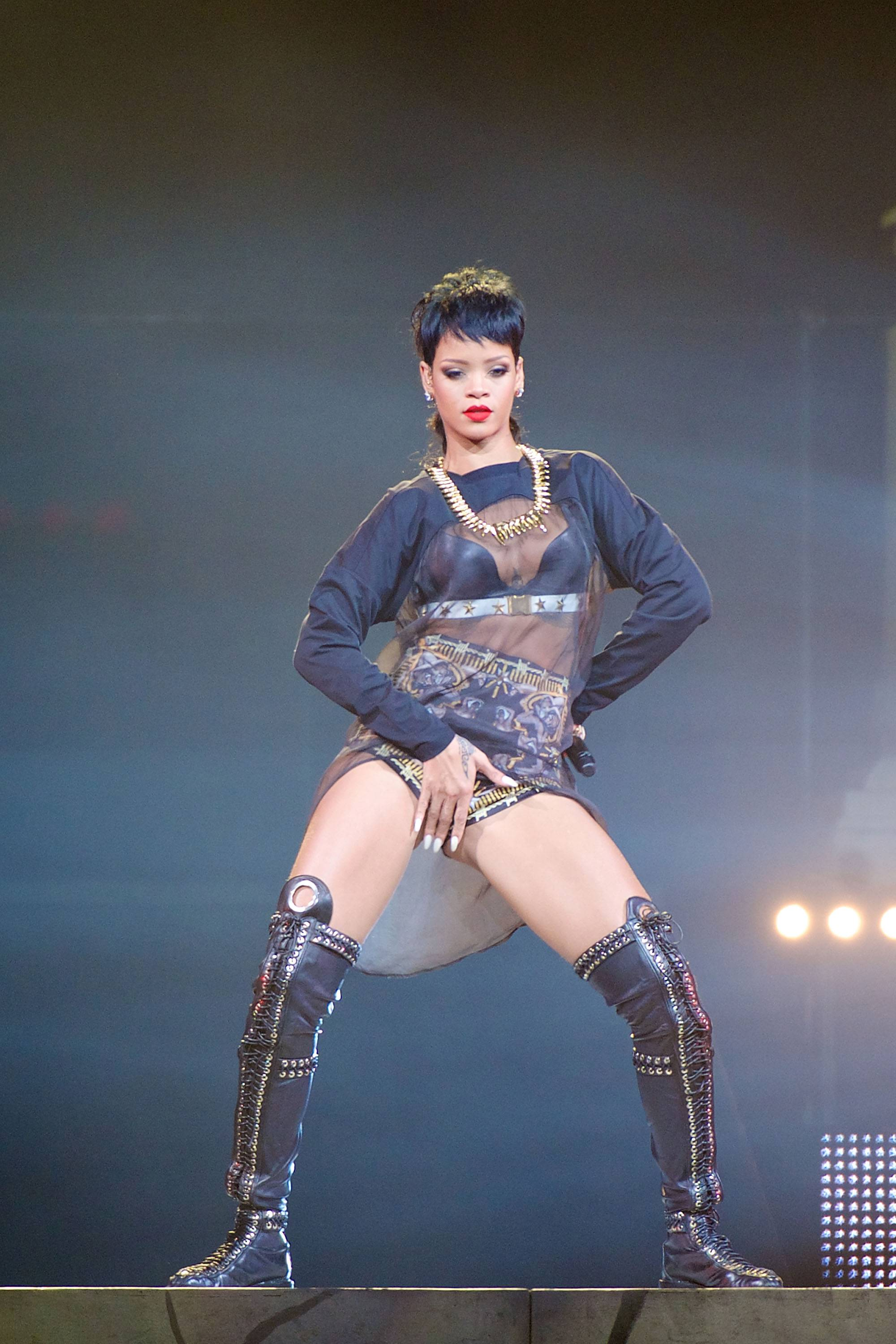 Rihanna,@badgalriri - Rihannamay have been shy about giving the most on that surfboard, but her fans are certainly used to her not holding back when she performs, like in this snapshot she pulled from a show in Australia.(Photo: Stefan Gosatti/Getty Images)