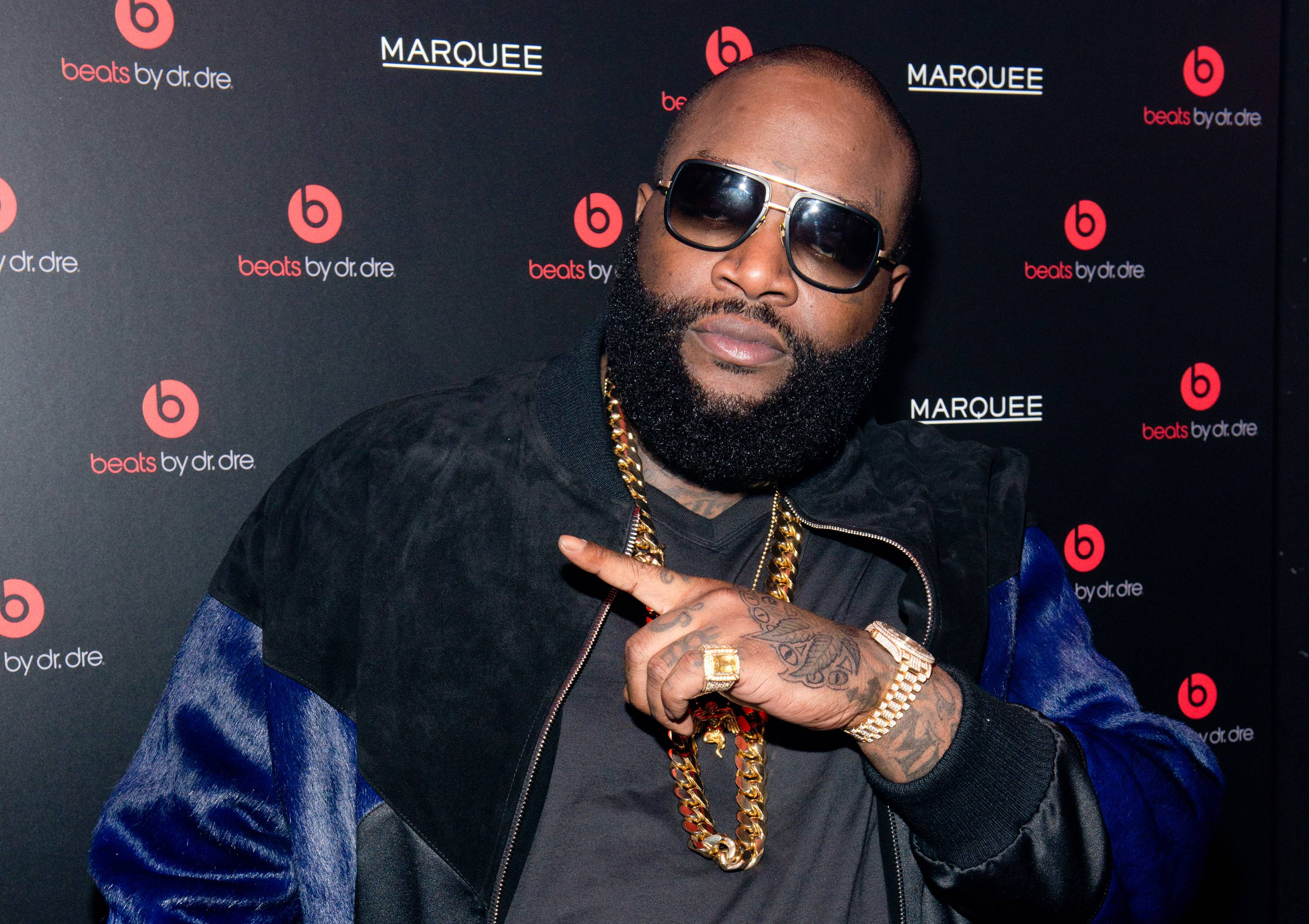 """Ross's Response - In a response to beef that goes back a few years, Rick Ross said:  """"We don't got time for that. Check the scoreboard: we running the numbers up high,"""" he said. """"Put the wigs on for us, [50], that's when we enjoyed it and we laughed. Put the wigs on, go back to that. Other than that, we gonna keep getting this money.""""  Hopefully this is the last we hear of this.  (Photo: Noam Galai/Getty Images for Beats by Dr. Dre)"""