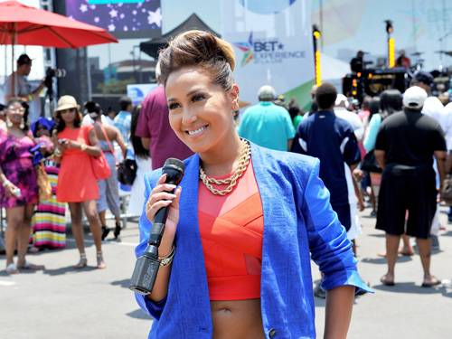 """Agree to Disagree - In an interview before the first season of The Real kicked off, Adrienne admitted that the diversity of the hosts is what makes the show and that despite their moments of """"heated"""" disagreements they all get along really well. Adrienne adds that her and Tamar even hang out quite often off set. Awww.(Photo: Kevin Mazur/BET/Getty Images for BET)"""