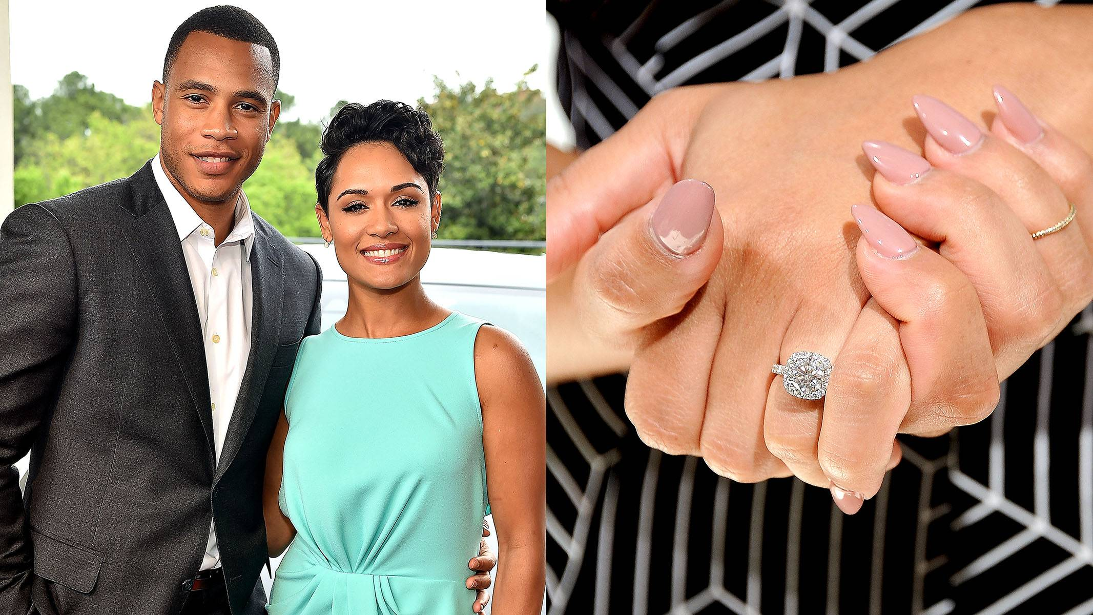 Grace Gealey - Empire's Trai Byers and Grace Gealey's engagement has been under wraps for a minute. But we've caught glimpses of Ms. Boo Boo Kitty's brilliant square-cut diamond on the red carpet, and she finally went public with the news on a recent episode of FABLife. You did good, Trai!(Photos from Left: Paras Griffin/Getty Images, D Dipasupil/Getty Images for Extra)