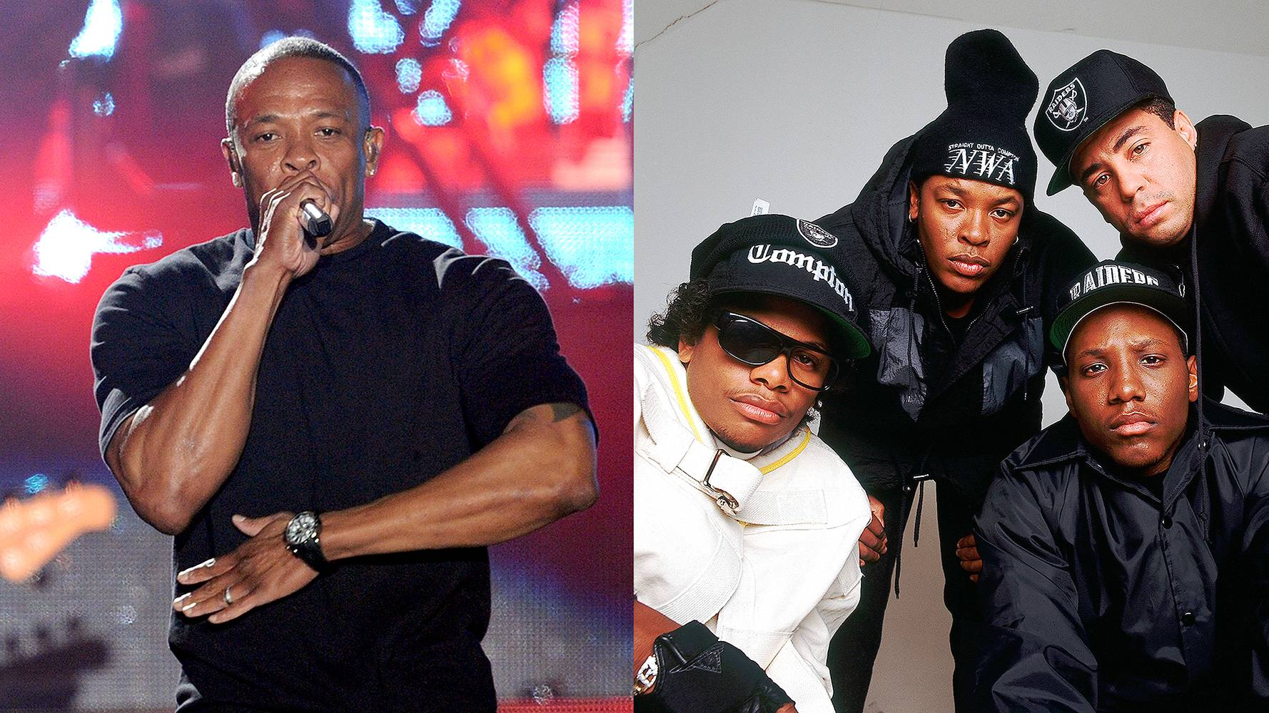 Dr. Dre | NWA  - After EFIL4ZAGGIN, Dr. Dre departed from NWAfor good and restarted his career with Death Row Records in 1993 along with Michel'le and The D.O.C. Since the departure, Dr. Dre is on his way to becoming hip-hop's first billionaire with ventures like Beats by Dre and the Straight Outta Compton movie set to premiere in theatres in August 2015. (Photos from Left: Kevin Winter/Getty Images for Coachella, Lynn Goldsmith/Corbis)