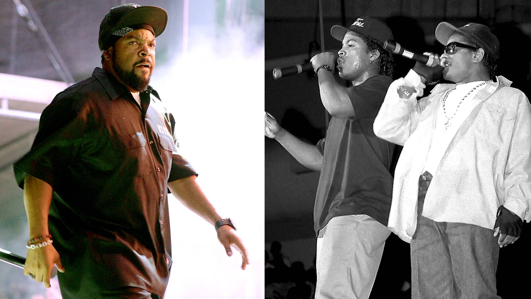 Ice Cube | NWA  - Compton hip hop groupNWAmade waves around the country with their debut release of Straight Outta Compton. Ice Cube split from the group in 1989 and continued making a name for himself beyond the mic by getting into some serious acting roles as well as landing huge endorsements. (Photos from Left: Jason Merritt/Getty Images, Raymond Boyd/Michael Ochs Archives/Getty Images)