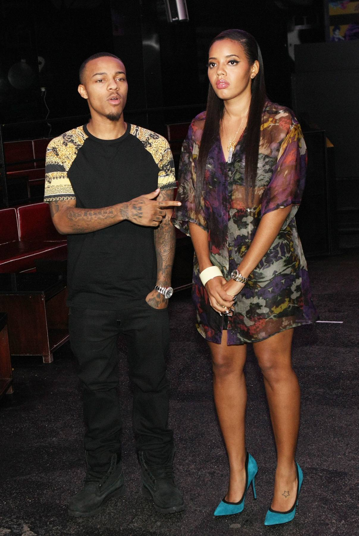 Fashion Talk - Hosts Bow Wow and Angela Simmons chat a bit with each other while on set. (Photo by Bennett Raglin/BET/Getty Images for BET)