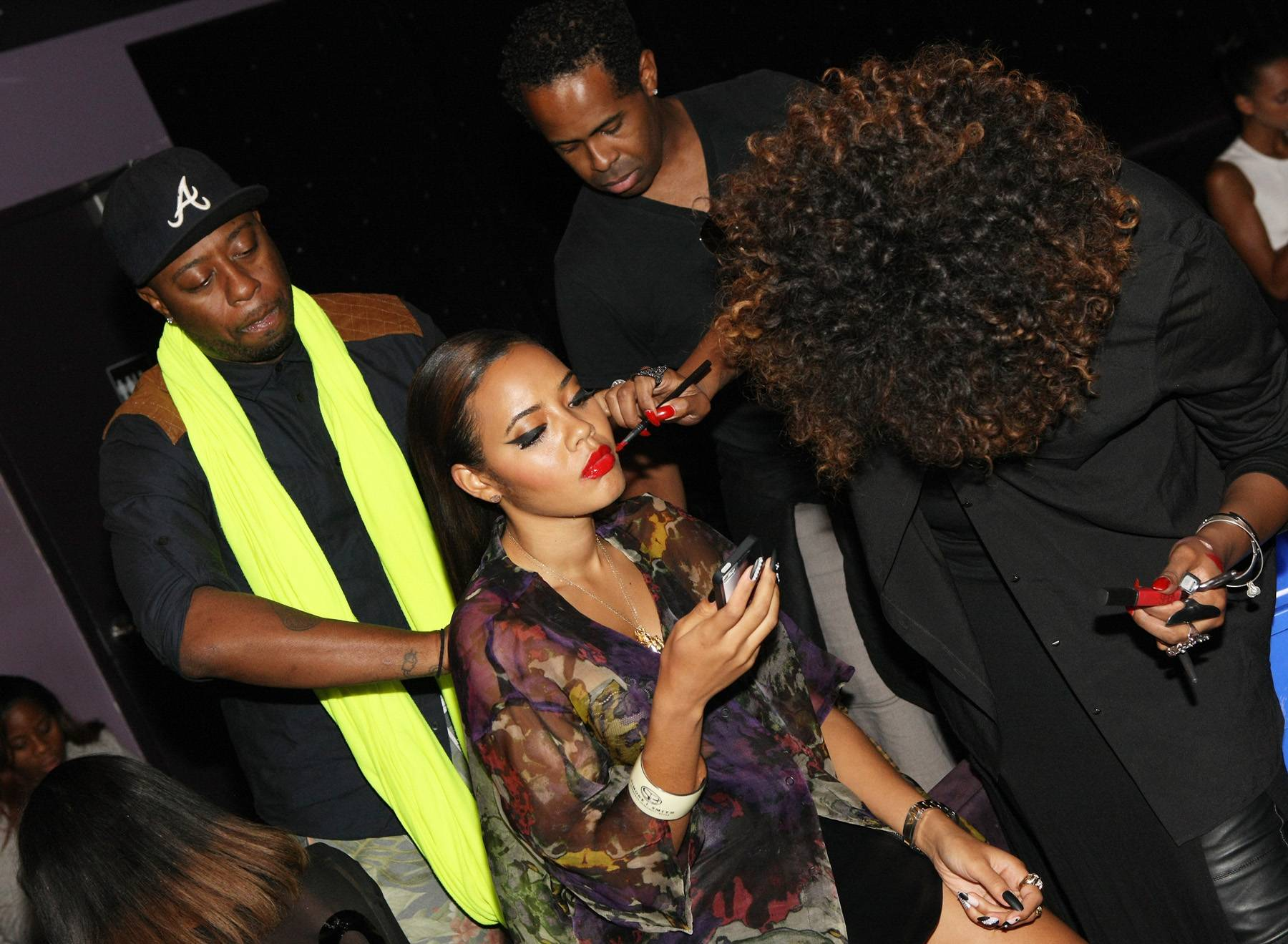 Pretty Prep - Host Angela Simmons gets glammed up backstage. (Photo: Bennett Raglin/BET/Getty Images for BET)