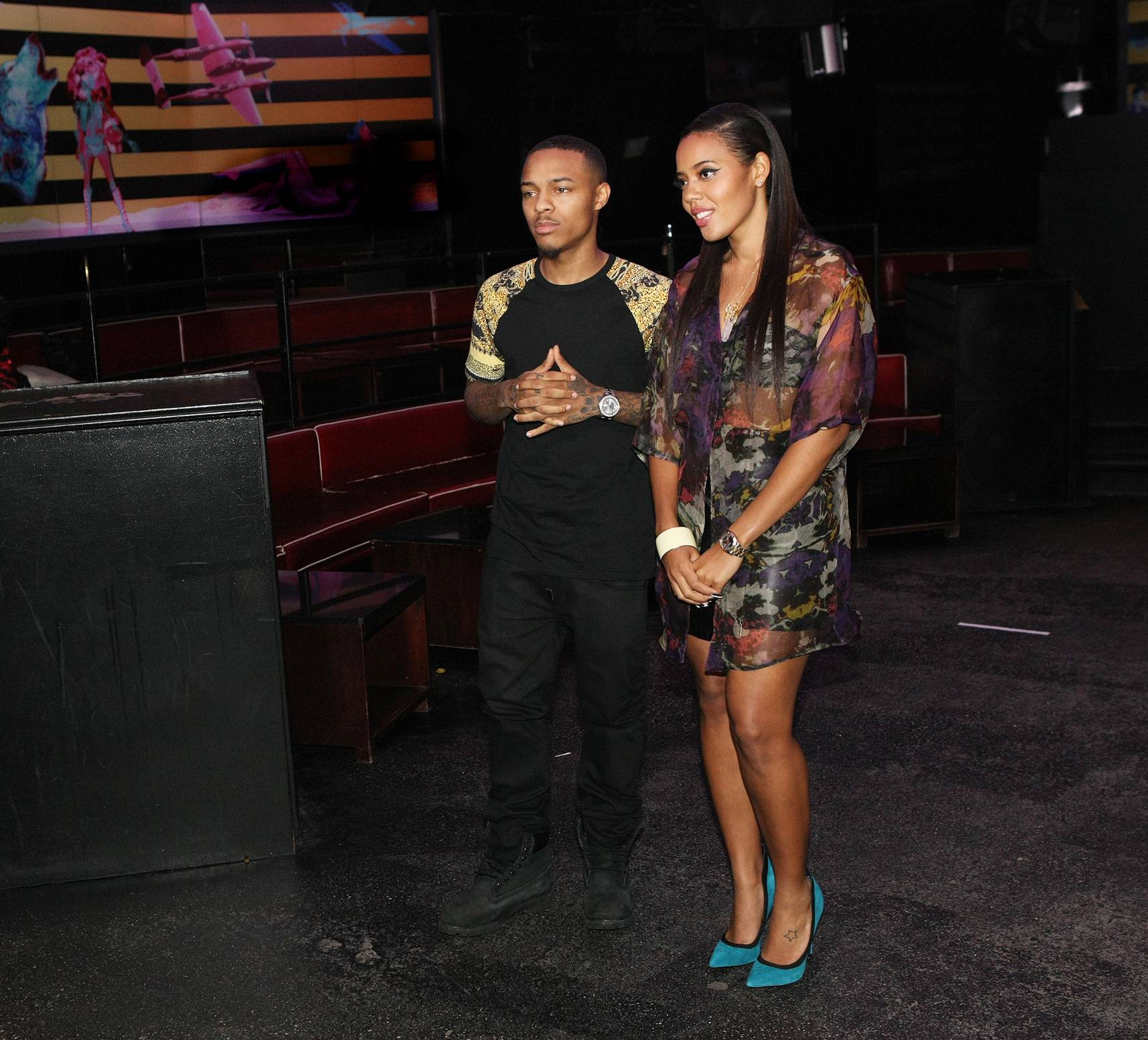 Grand Opening - Hosts Bow Wow and Angela Simmons get ready for their show opening. (Photo: Bennett Raglin/BET/Getty Images for BET)