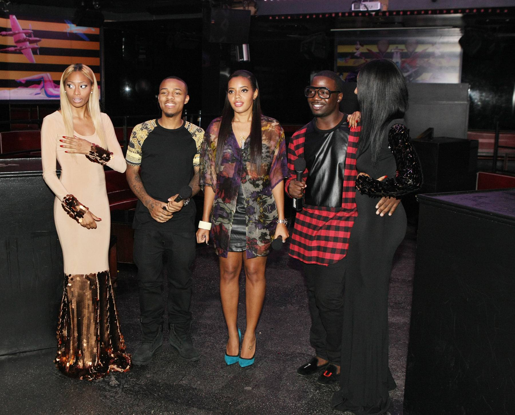 Style Celebration - Bow Wow, Angela Simmons, and designer Duckie Confetti (far right) all pose for a pic. (Photo: Bennett Raglin/BET/Getty Images for BET)