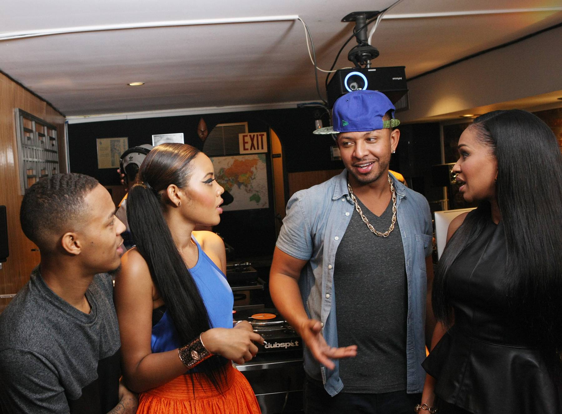 Taking Notes - Bow Wow and Angela Simmons get tips from both DJ Babey Drew and DJ Traci Steele. (Photo: Bennett Raglin/BET/Getty Images for BET)