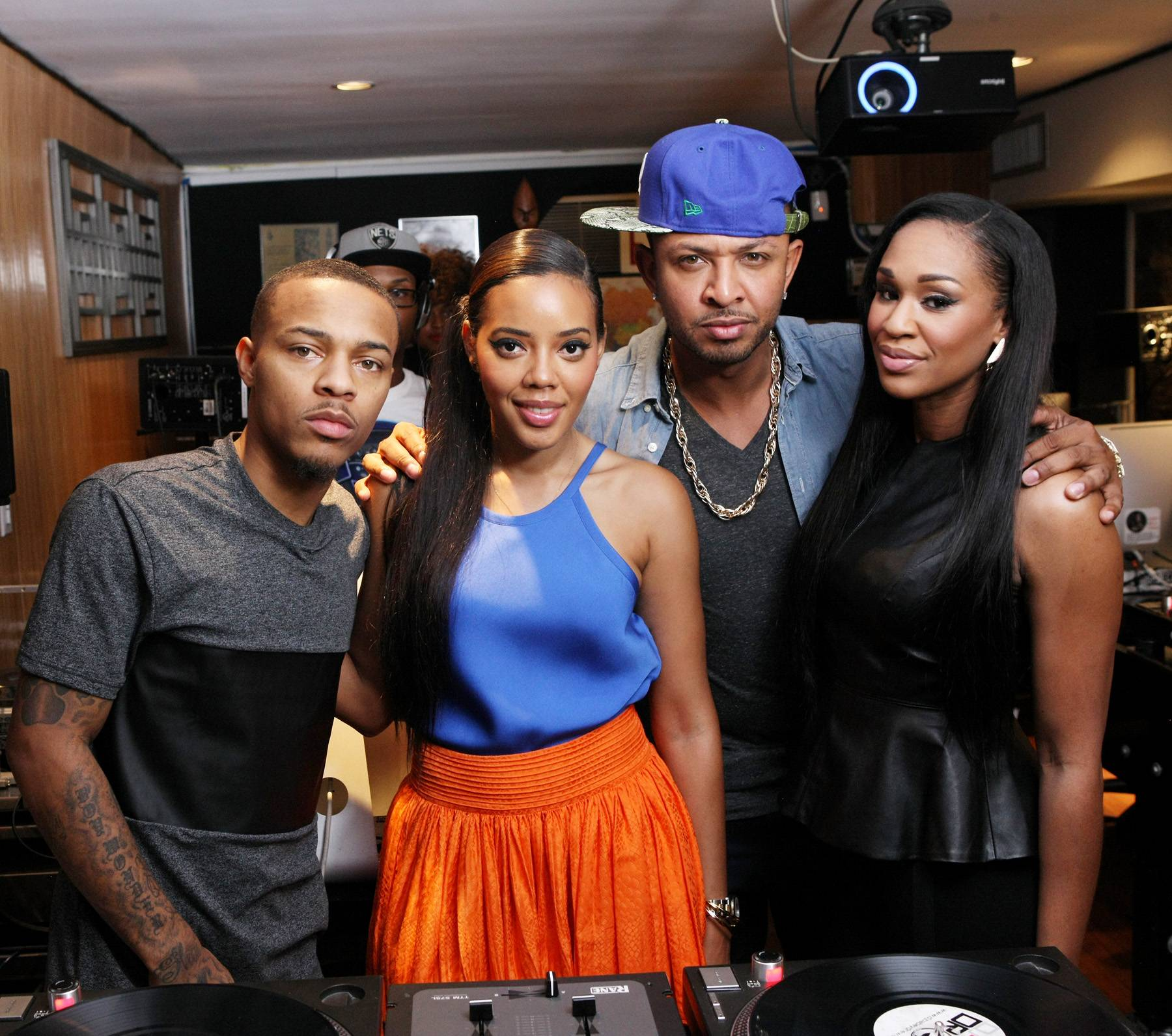 Group Shot - Bow Wow, Angela Simmons, DJ Babey Drew and DJ Steele all warm up for a group pic on 106. (Photo: Bennett Raglin/BET/Getty Images for BET)