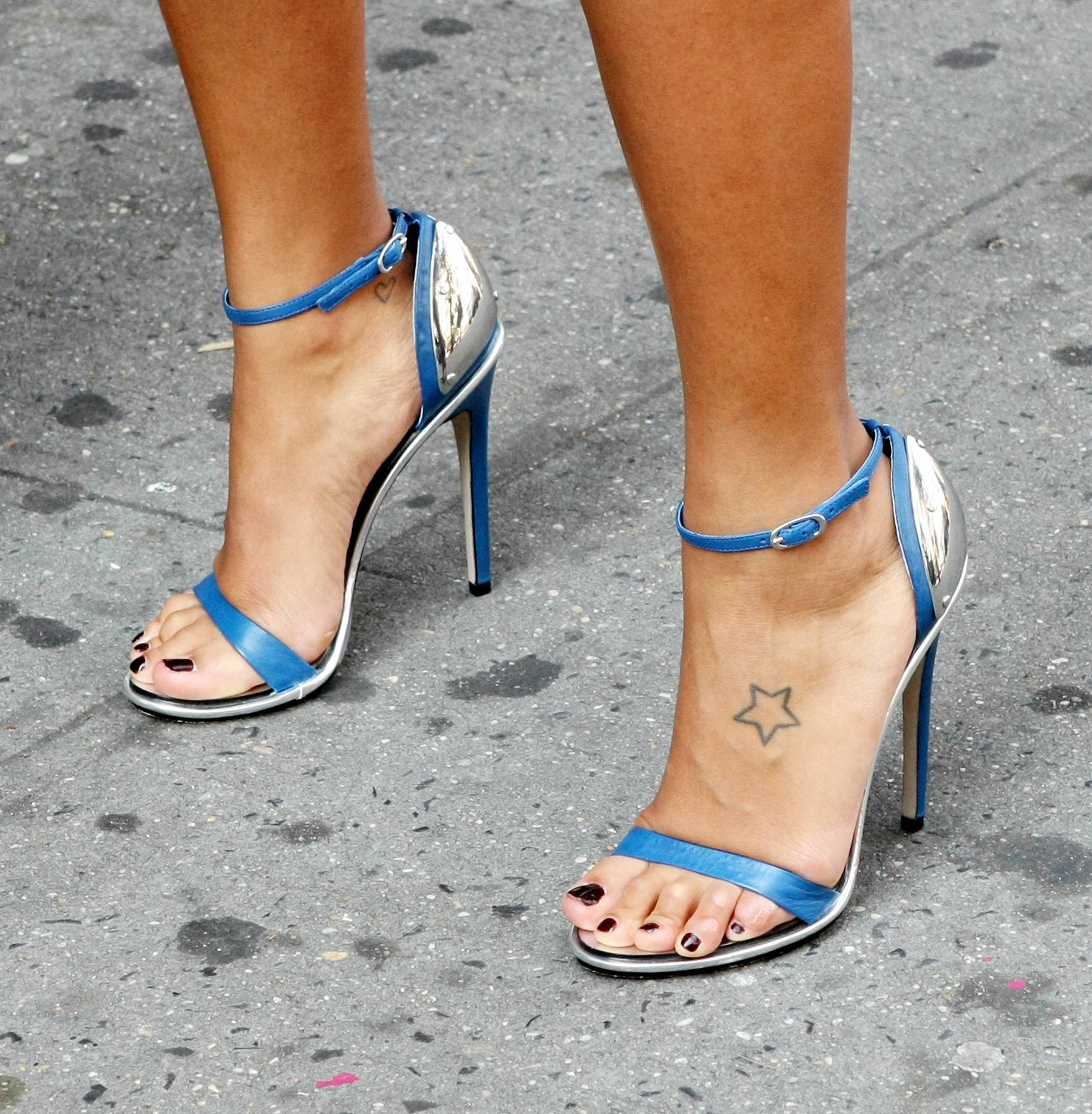 Electric Blue - Angela Simmons rocks some electric blue open toe strap ups on the set.(Photo: Bennett Raglin/BET/Getty Images for BET)