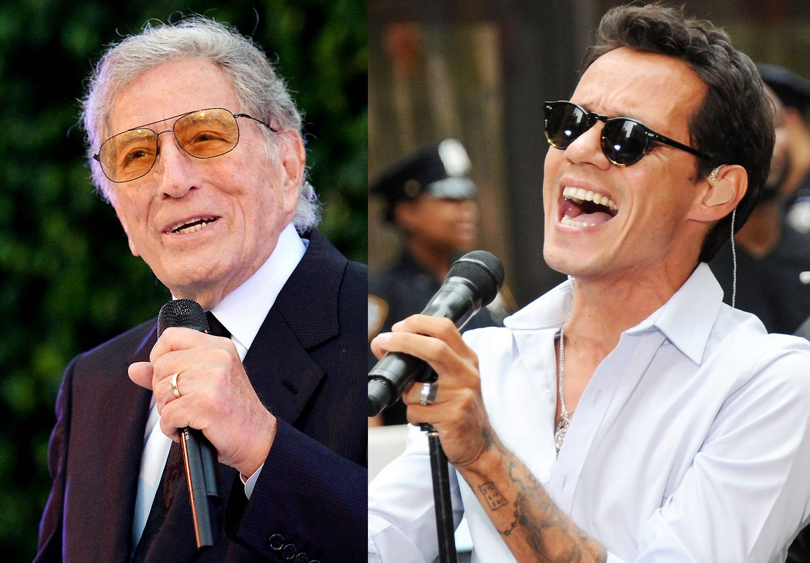 """Best Traditional Jazz Performance:Tony Bennett feat. Marc Anthony - """"For Once In My Life"""" - Past Soul Train Award winner and legendary crooner, Tony Bennett teamed up with the latin pop star for this single off his Spanish-language album, Viva Duets. (Photos from left: Michael Kovac/Getty Images, Ben Gabbe/Getty Images)"""
