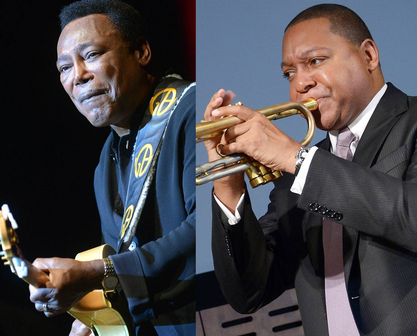 """Best Traditional Jazz Performance: George Benson feat. Wynton Marsalis - """"Unforgettable"""" - Paying musical homage to the late Nat King Cole, George Benson?s cover of ?Unforgettable? featuring the noted jazz trumpeter Wynton Marsalis, was just that. (Photos from left: EPA/Britta Pedersen /LANDOV, Michael Loccisano/Getty Images for HBO)"""