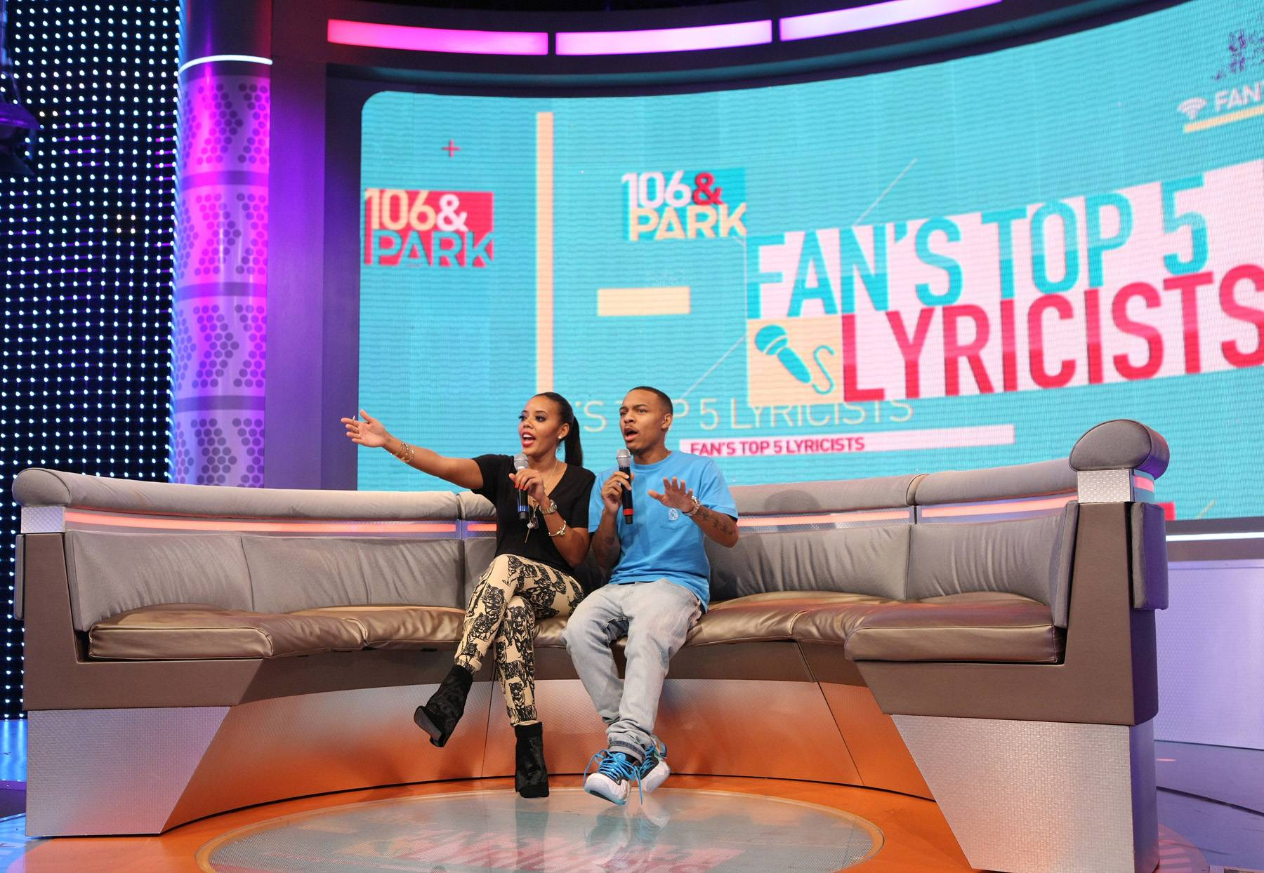 Hol' Up! - 106 & Park hosts Angela Simmons and Bow Wow curate who the livest audience feels is one of the top five rappers in the game today! (Photo: Bennett Raglin/BET/Getty Images for BET)