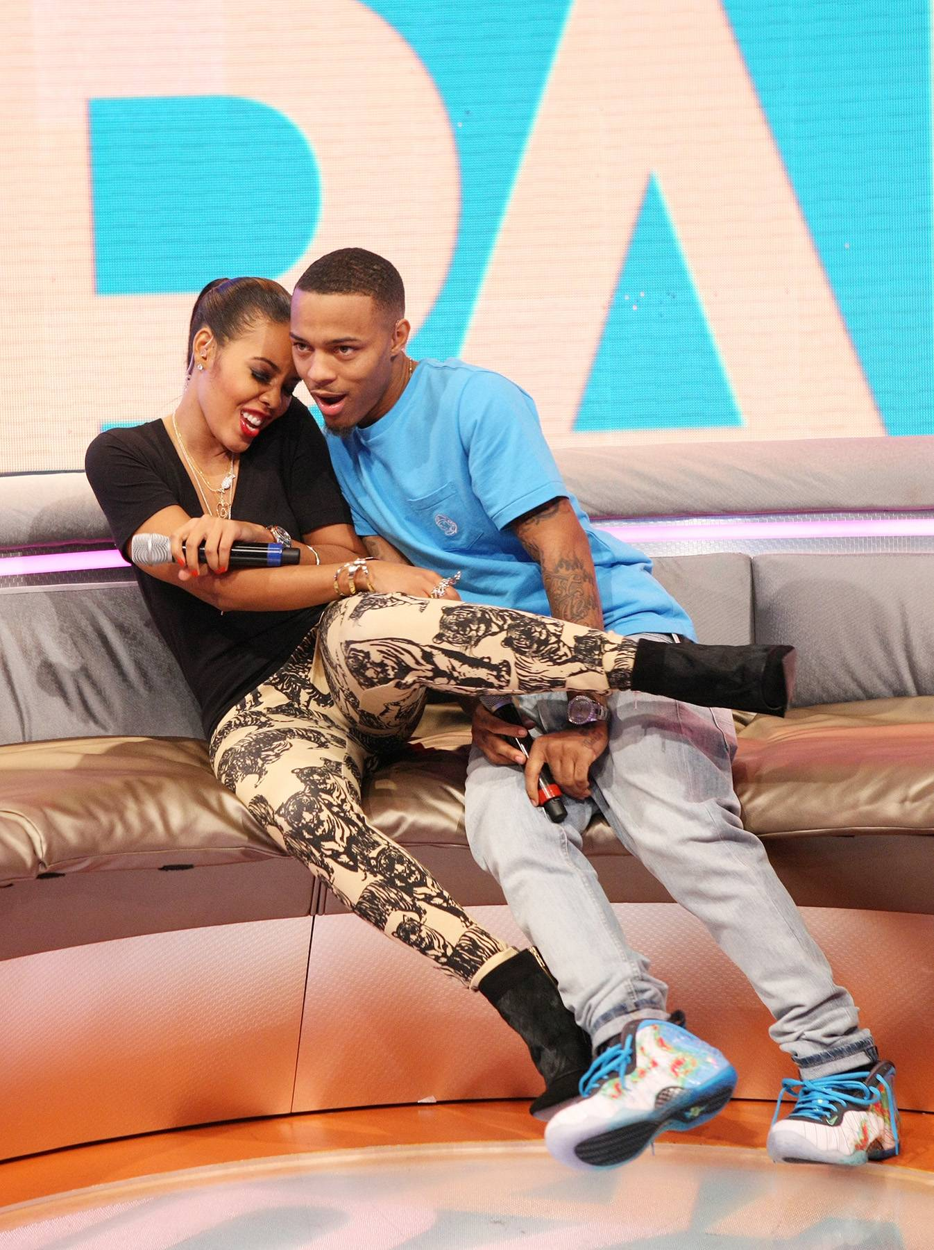 Clownin' - Hosts Angela Simmons and Bow Wow clownin' while on the set of 106. (Photo: Bennett Raglin/BET/Getty Images for BET)