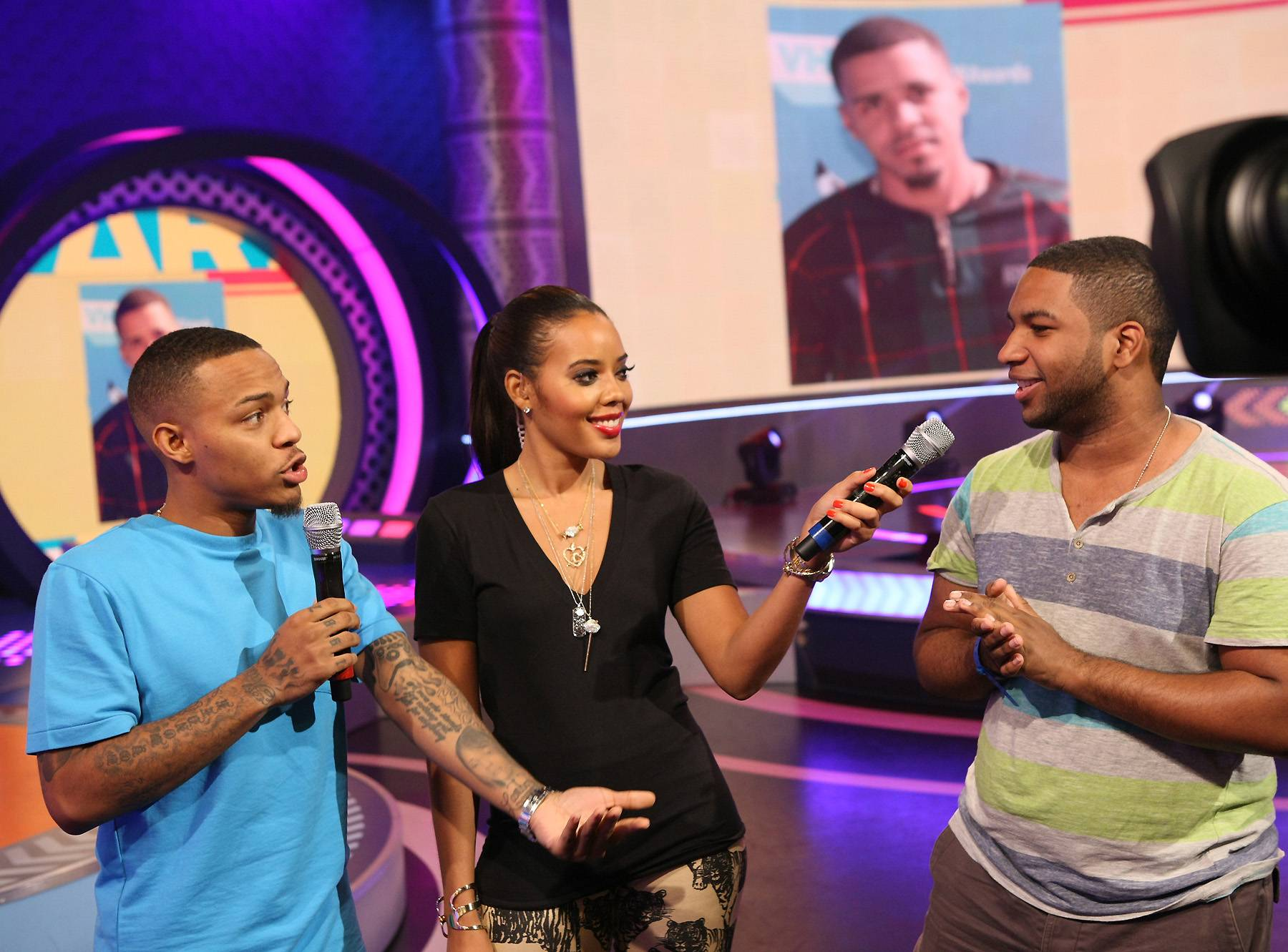 What You Think? - Hosts Angela Simmons and Bow Wow questioning an audience member while on 106. (Photo: Bennett Raglin/BET/Getty Images for BET)