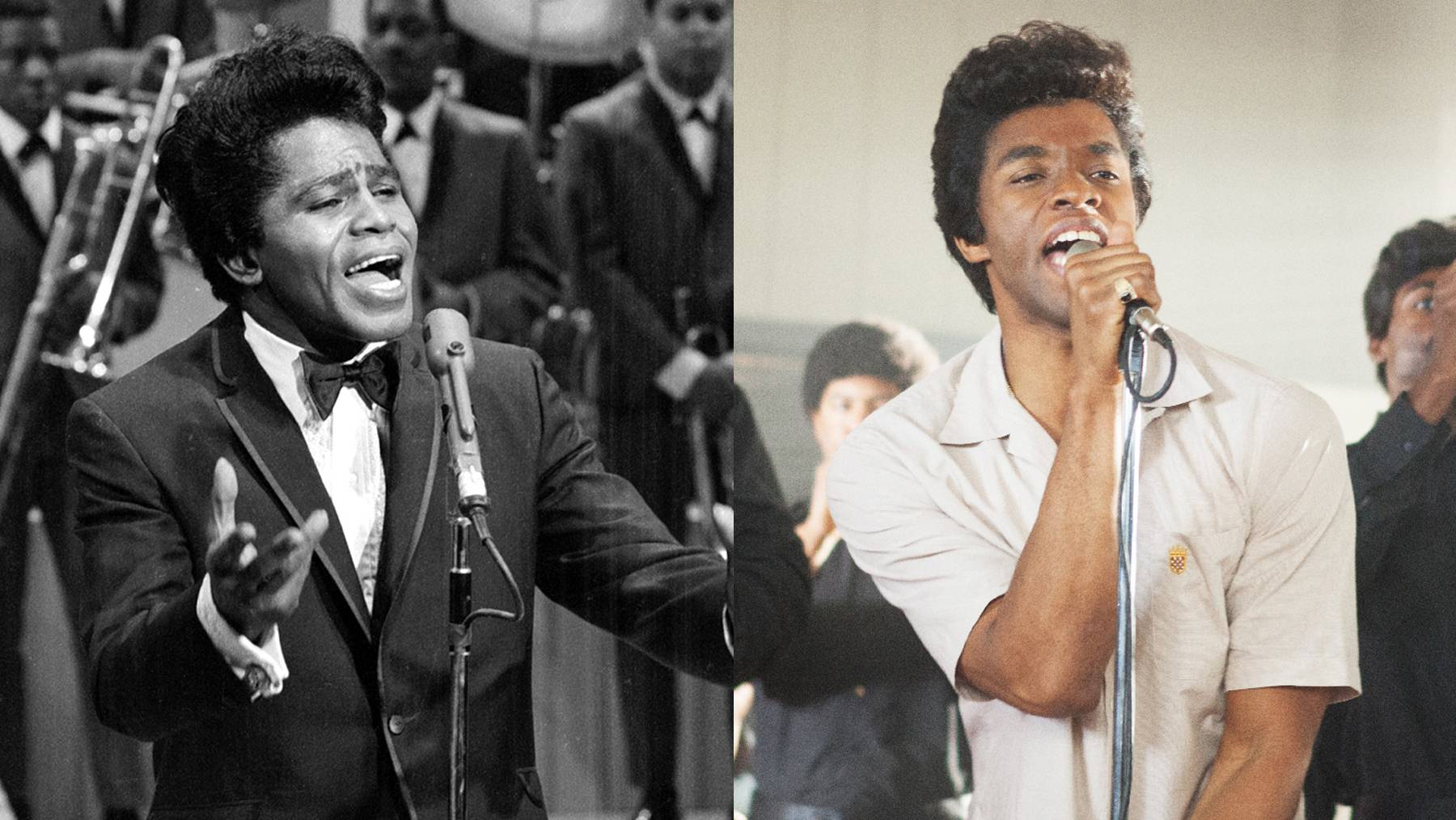 """Get on Up - The life story of the Godfather of Soul, James Brown, hit theaters Aug. 1, 2014, withChadwick Bosemancast in the starring role alongside Viola Davis, Octavia Spencerand more. It opened in third place at the box office, grossing more than its $30 million budget. Say it loud,""""Black and proud.""""(Photos from left: CBS /Landov, Universal Pictures)"""