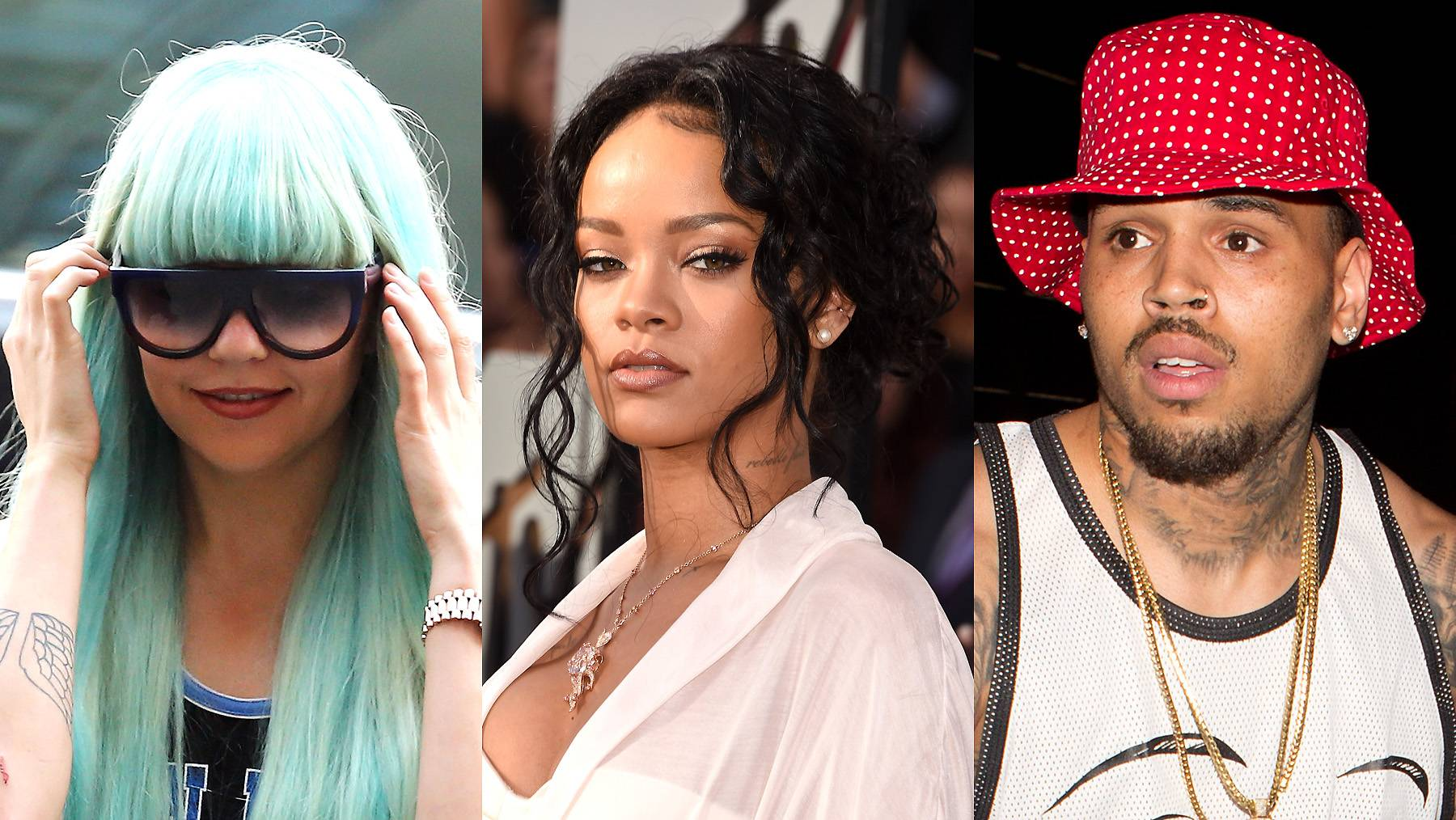 """Amanda Bynes Jokes About Chris Brown/Rihanna Incident - Joking about domestic violence is never funny, but actress Amanda Bynes seemed to think otherwise. During a highly publicized downward spiral, Bynes took to Twitter to randomly attackRihanna and Chris Brown. She later removed the tweet, following a swarm of attacks from their respective fan bases.Tweet: """"@rihanna Chris brown beat you because you're not pretty enough.""""(Photos from left: Neilson Barnard/Getty Images, Jason Merritt/Getty Images for MTV, SPW / Splash News)"""