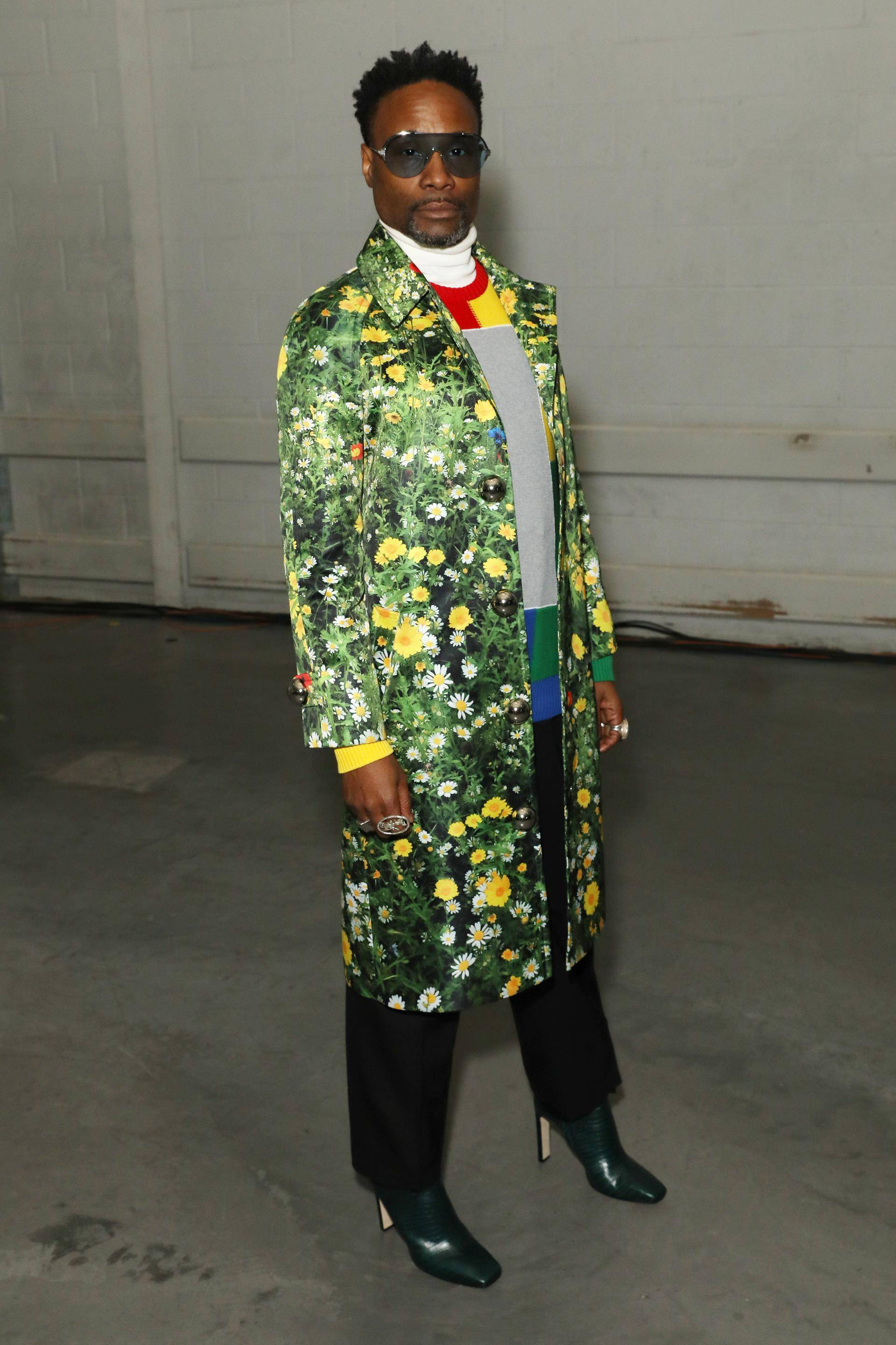 Flower Power - Billy Porter wore theLondon Fields Satin Coatfromthe Christopher Kane Spring/Summer 2020 collection at their runway show in London.(Photo: Darren Gerrish) (Photo: Darren Gerrish)