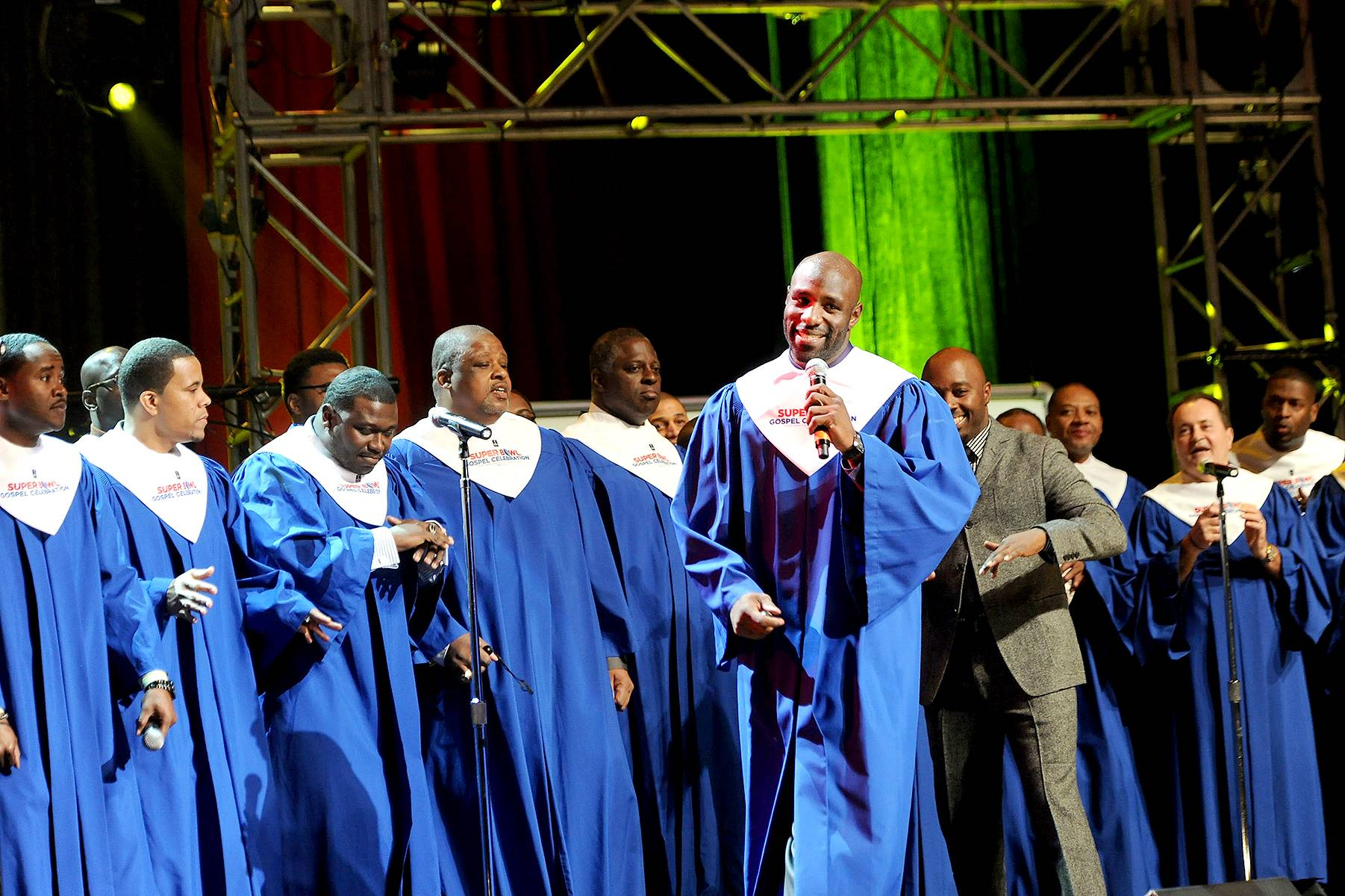 Praise His Name - The NFL Players Choir performs at the Super Bowl Gospel Celebration2012at Clowes Memorial Hall of Butler University in Indianapolis. (Photo: Rick Diamond/Getty Images for Super Bowl)
