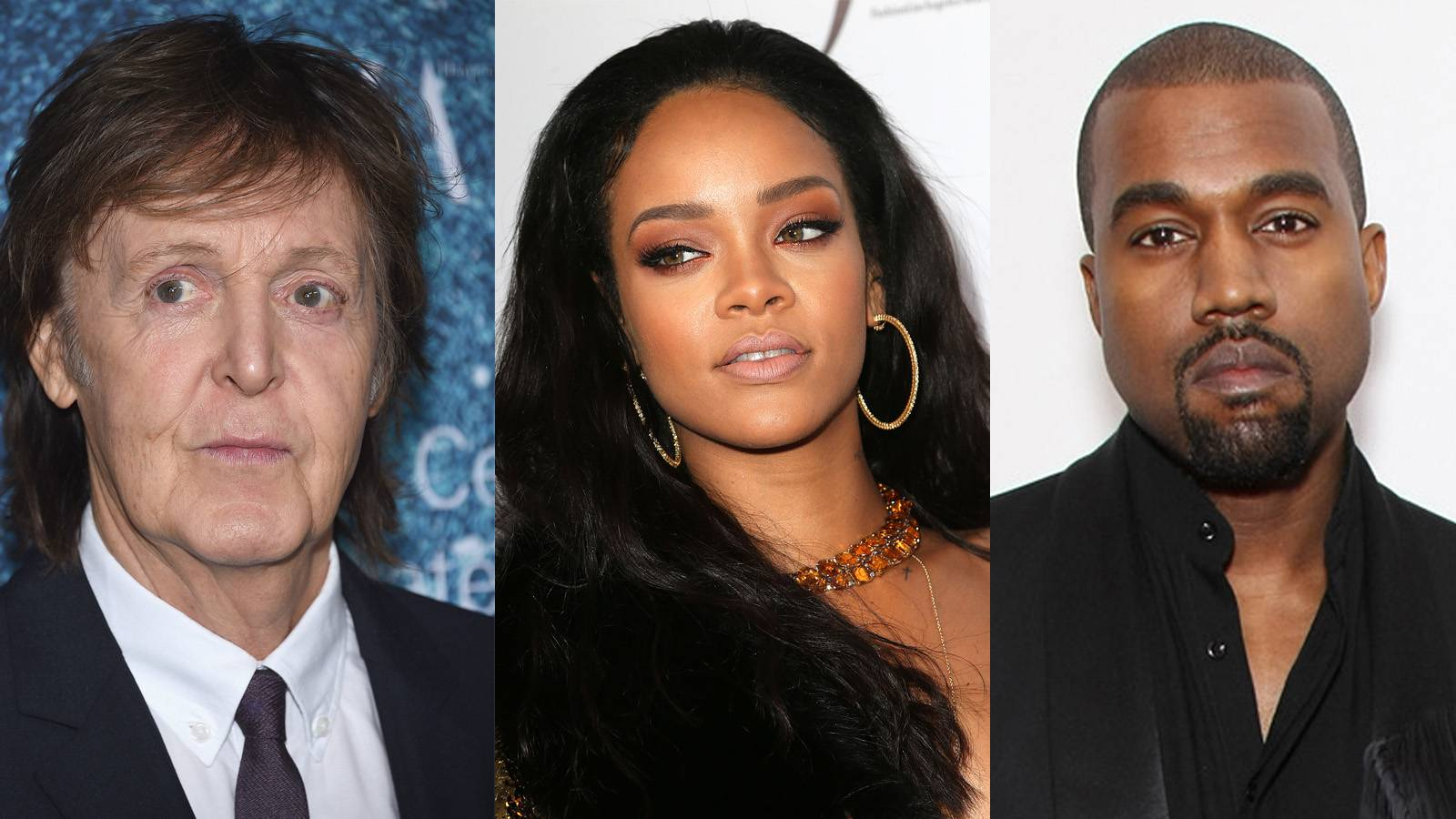 """New Music From an Unlikely Trio - Rihanna tapped Paul McCartney and Kanye West for a new song entitled """"FourFiveSeconds,"""" which she released over the weekend. The new music is part of her eighth studio album, due out some time first quarter. Listen here.  (Photos from left: Dimitrios Kambouris/Getty Images, Frederick M. Brown/Getty Images, Bennett Raglin/BET/Getty Images for BET)"""