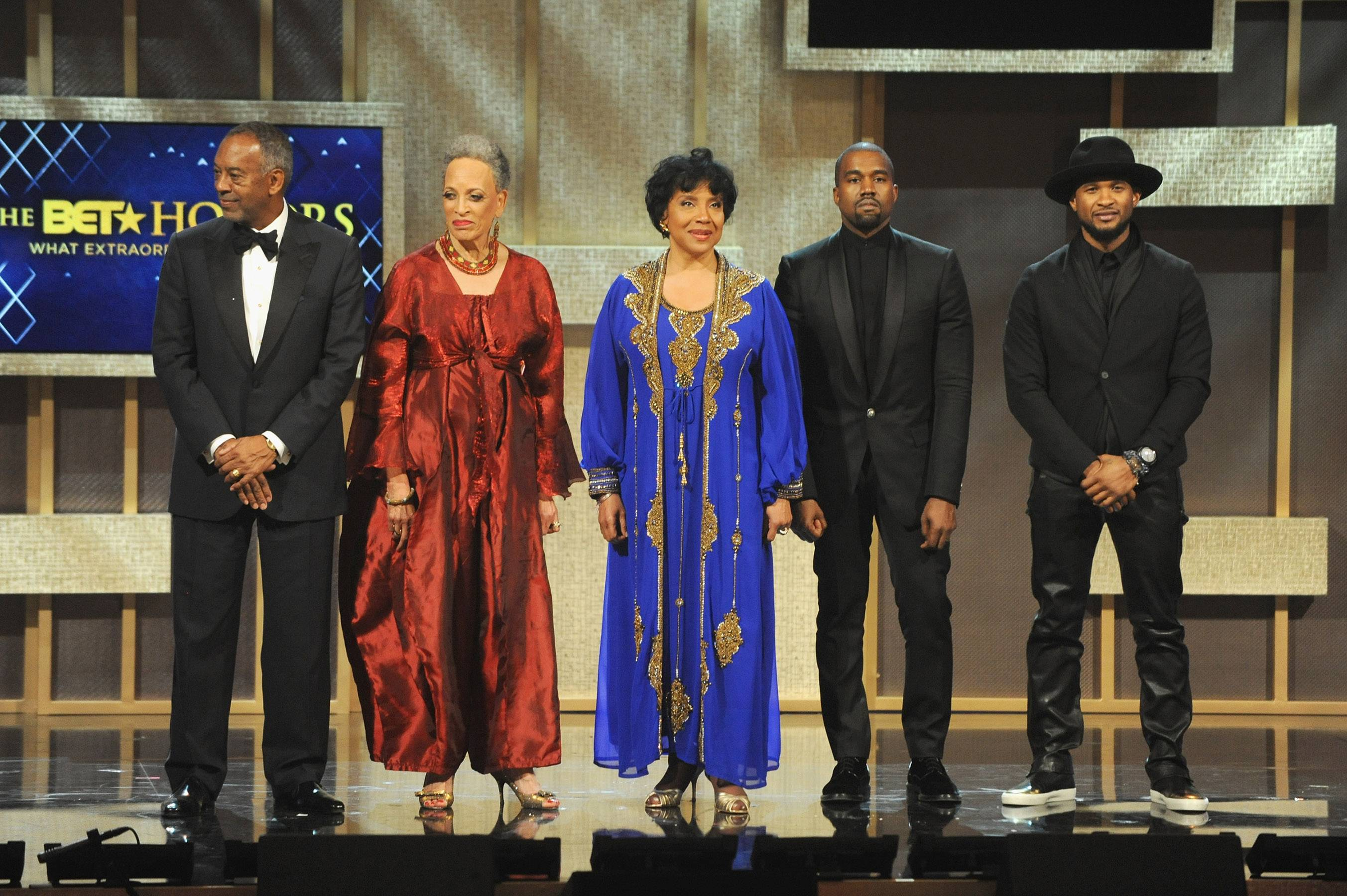 The BET Honors Honorees  - HonoreesJohn W. Thompson, Dr. Johnnetta B. Cole, Phylicia Rashad, Kanye West and Usher pose onstage. (Photo: Brad Barket/BET/Getty Images for BET)