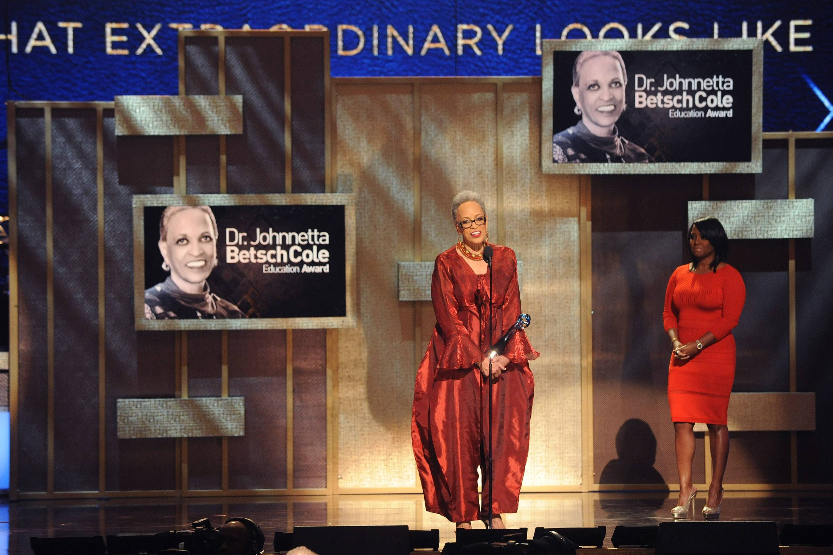 Dr. Johnnetta Betsch Cole Accepts Education Award - Dr. Johnnetta B. Cole accepted the Education Award during the 2015 BET Honors. She became the first female president of Spelman College and her other accolades include working as a museum director, educator and anthropologist.(Photo: Brad Barket/BET/Getty Images for BET)
