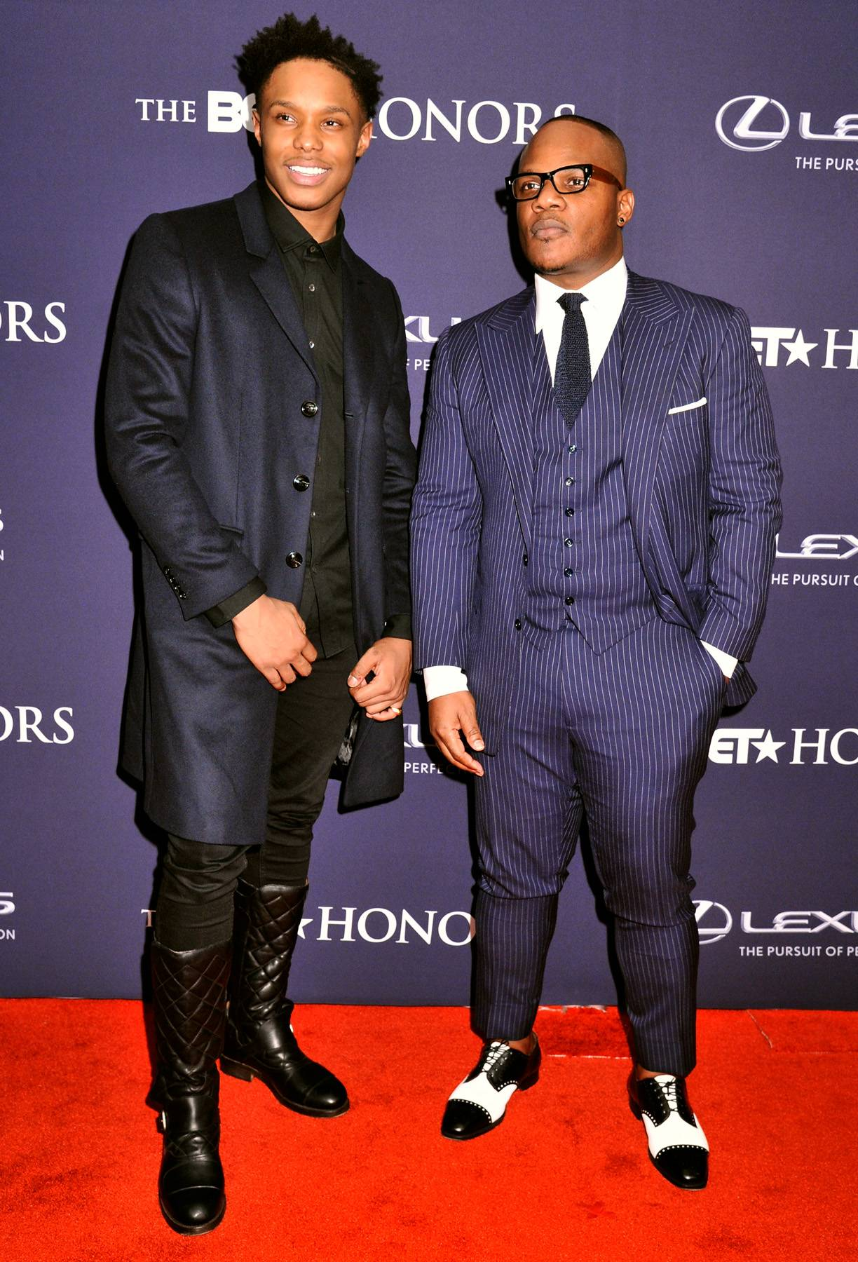 Boys in Blue  - Singers Avery Wilson and Sean Garrett get dapper in their blue ensembles as they do their best GQ poses. (Photo: Kris Connor/BET/Getty Images for BET)