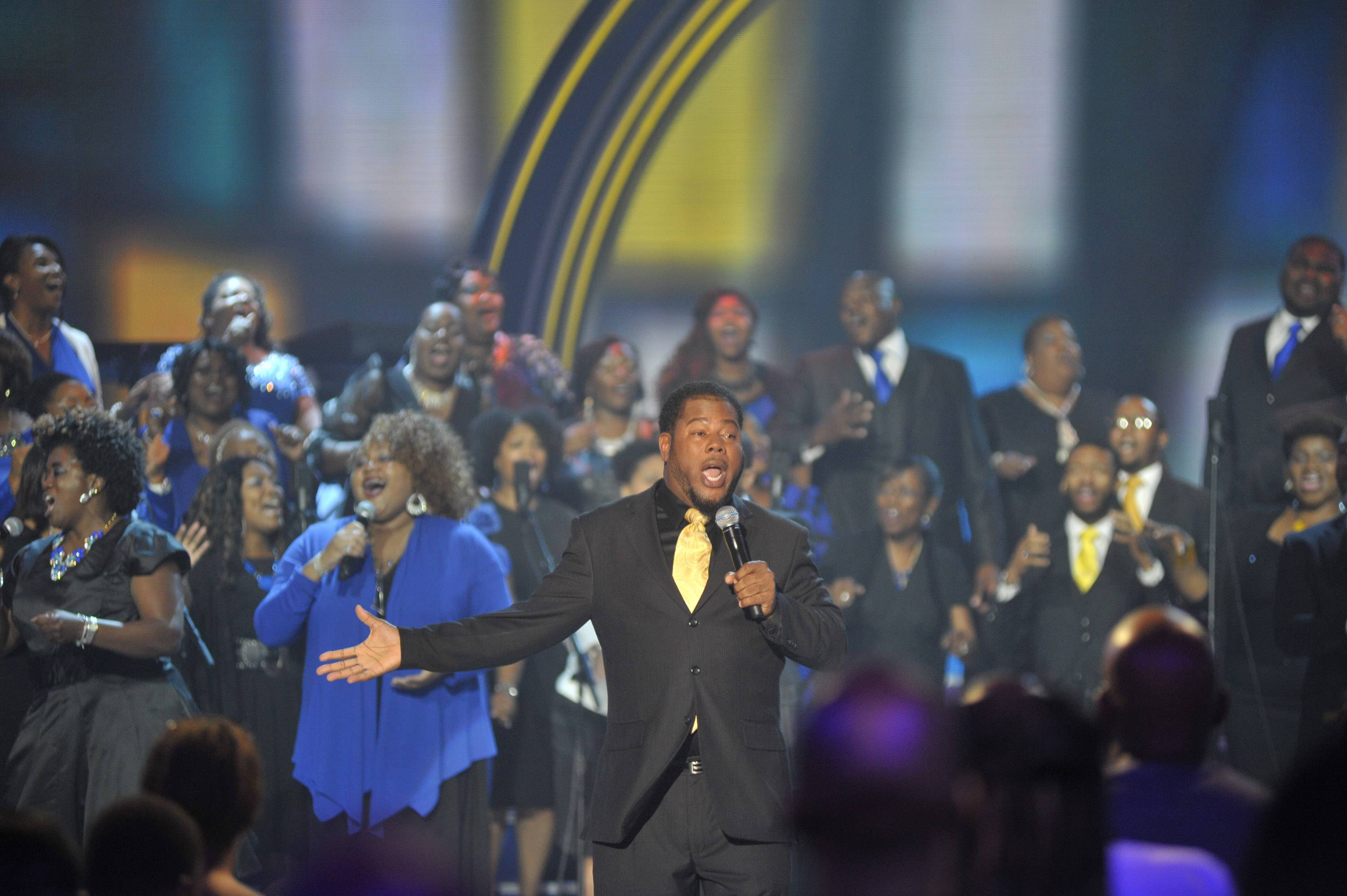 Raise Him Up  - Continuing to lift up his name is Earl Bynum Jr. and Mt. Unity Choir. (Photo: Kris Connor/Getty Images for BET Networks)