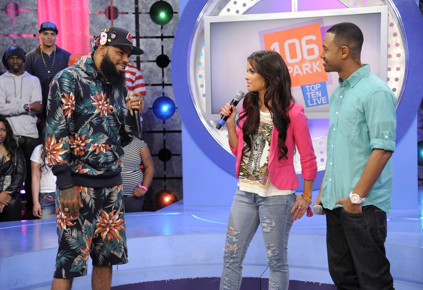 Fireworks - Stalley of MMG with Rocsi Diaz and Terrence J at 106 & Park, April 17, 2012. (Photo: John Ricard/BET)