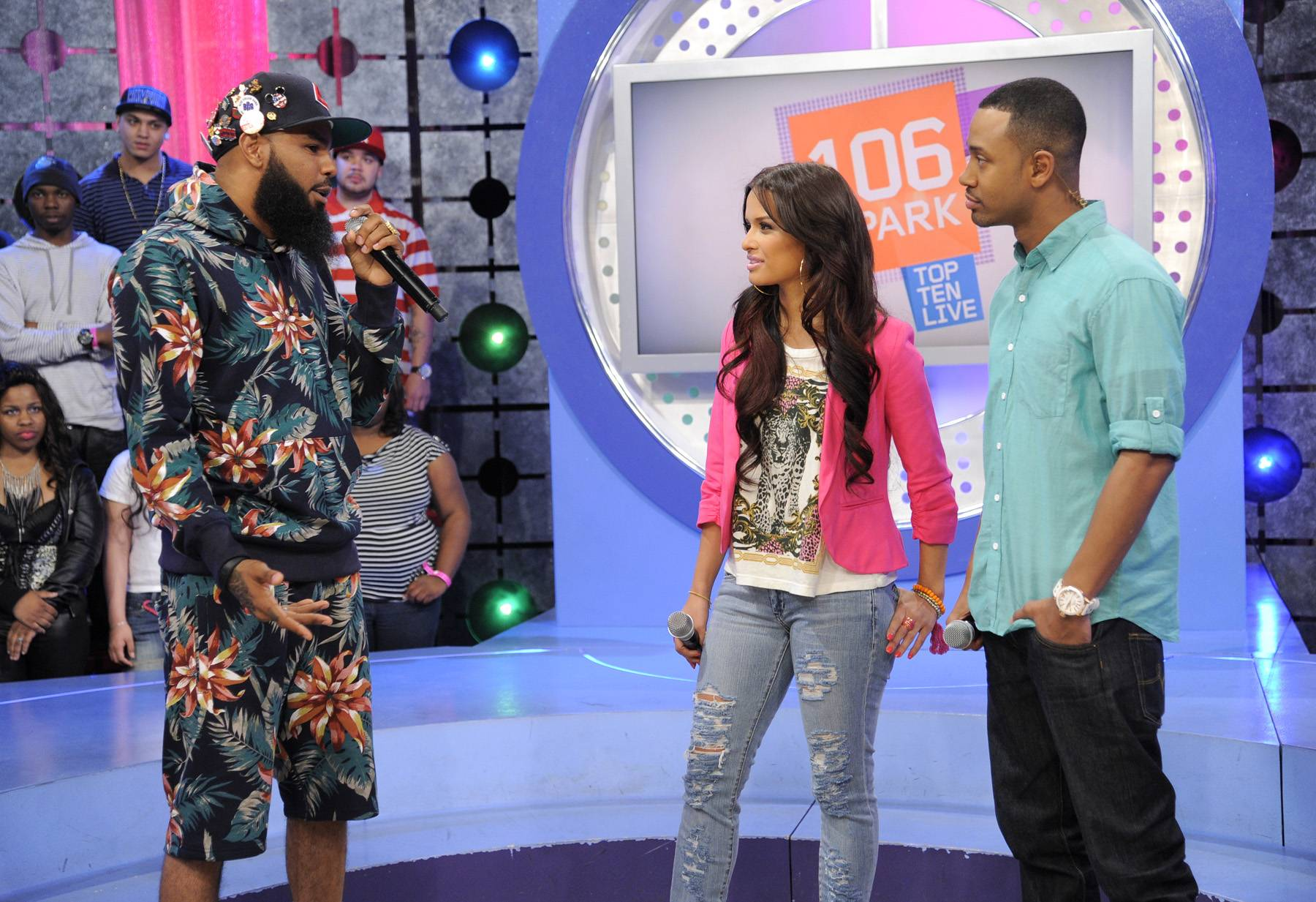 I Made It - Stalley of MMG with Rocsi Diaz and Terrence J at 106 & Park, April 17, 2012. (Photo: John Ricard/BET)