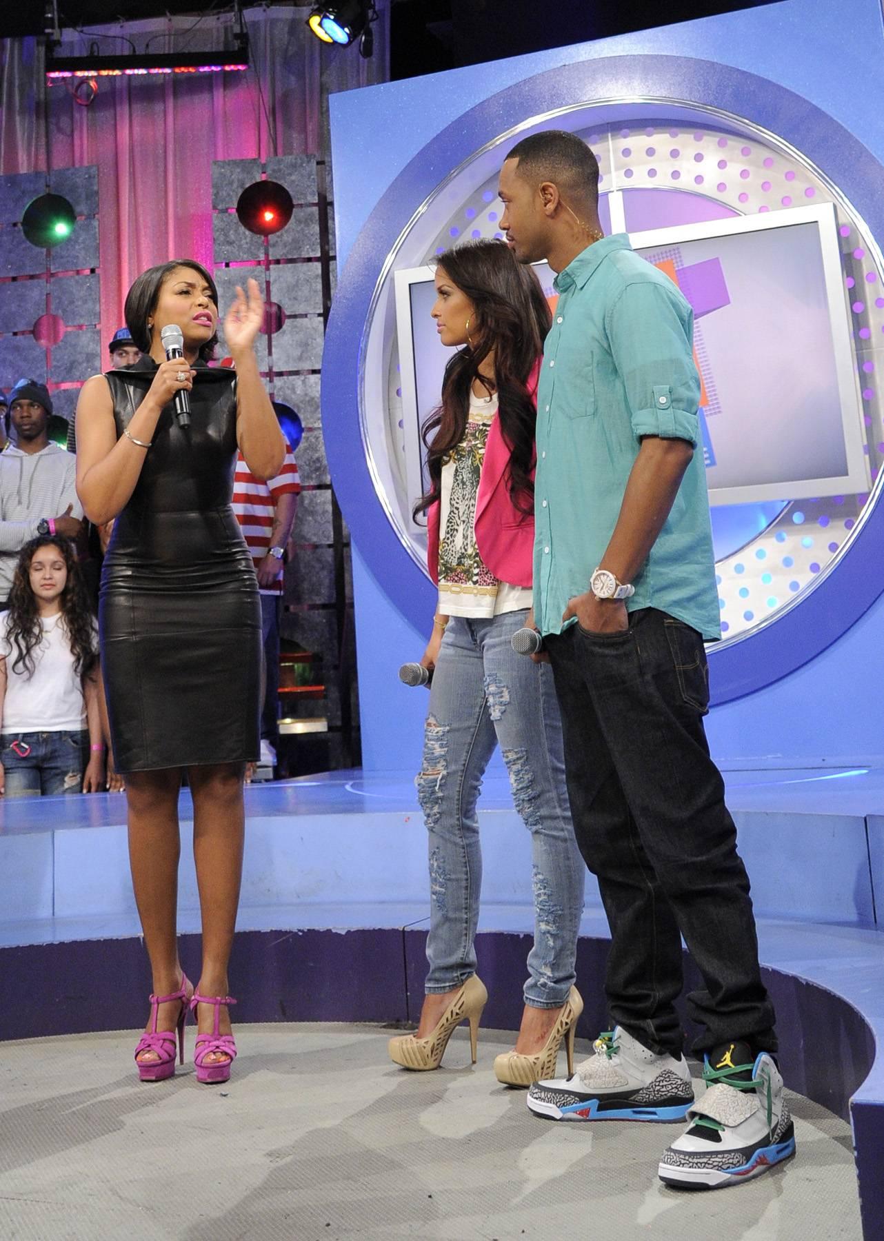 Let Me Tell You - Taraji P. Henson with Terrence J and Rocsi Diaz at 106 & Park, April 17, 2012. (Photo: John Ricard/BET)