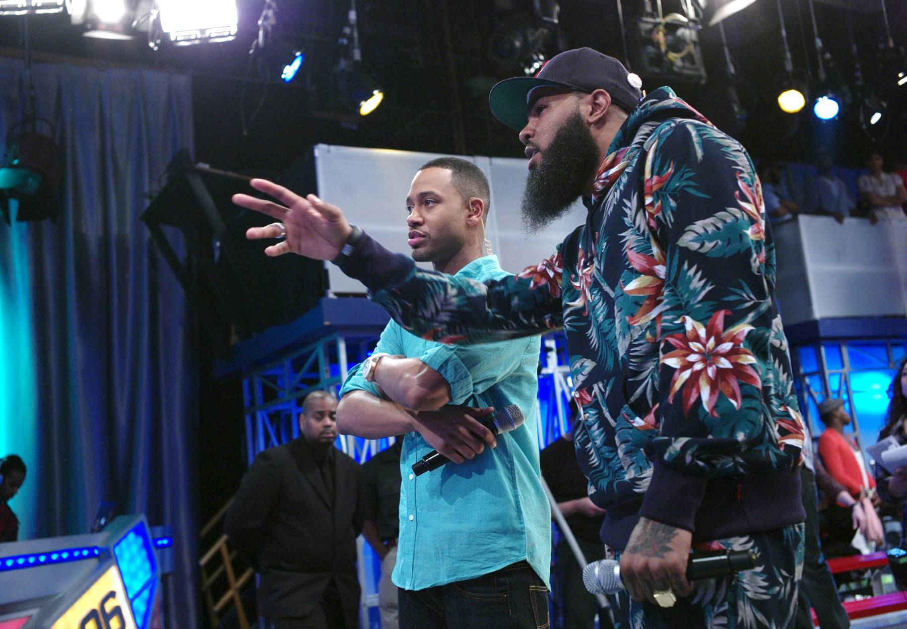 Right There - Stalley of MMG with Terrence J at 106 & Park, April 17, 2012. (Photo: John Ricard/BET)