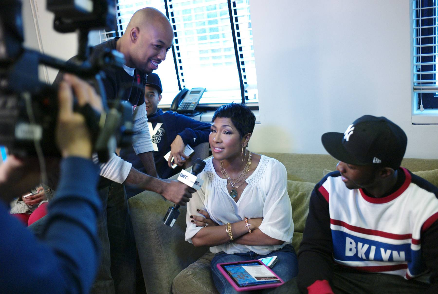 """I See You - Director of""""Life, Love, Soul"""" interviews Terri Vaughn and Jamie Hector in the green room at 106 & Park, April 12, 2012. (Photo: John Ricard / BET)"""
