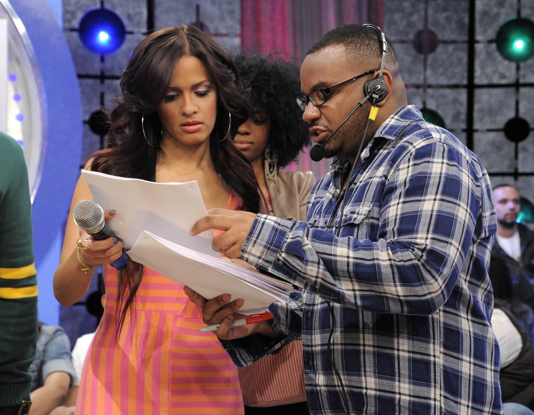 I Get It - Rocsi Diaz go over script during a commercial break at 106 & Park, April 12, 2012. (Photo: John Ricard / BET)