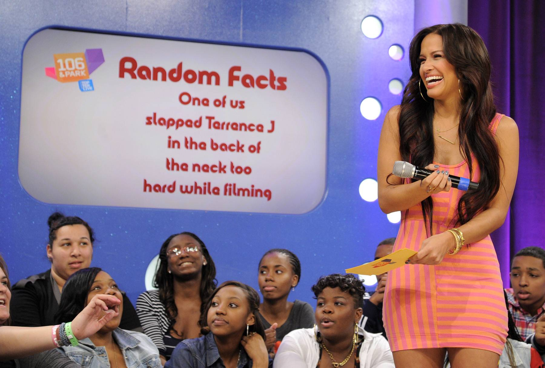Look at That Random Fact - Rocsi Diaz and Pooch Hall does random facts with audience members at 106 & Park, April 12, 2012. (Photo: John Ricard / BET)