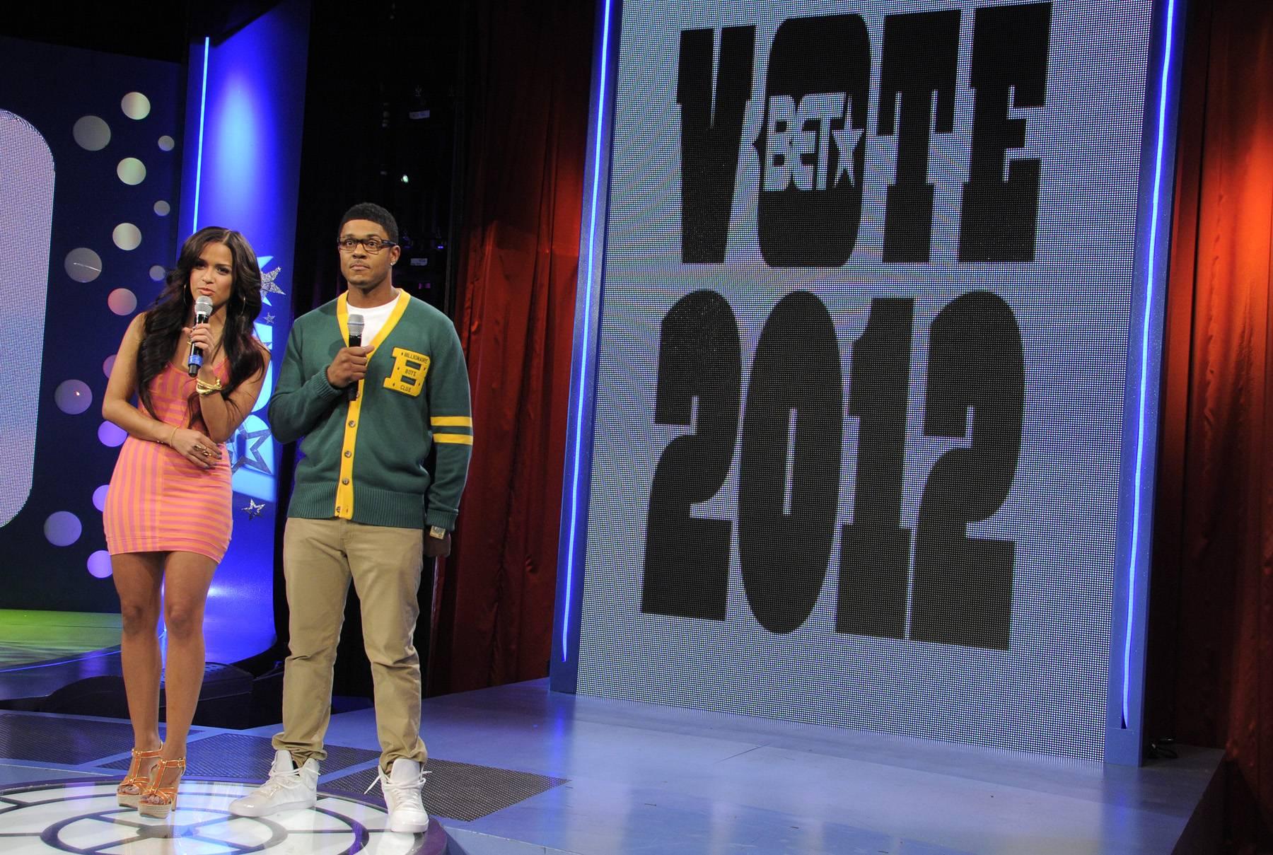 Make Sure to Vote - Pooch Hall and Rocsi Diaz at 106 & Park, April 12, 2012. (Photo: John Ricard / BET)